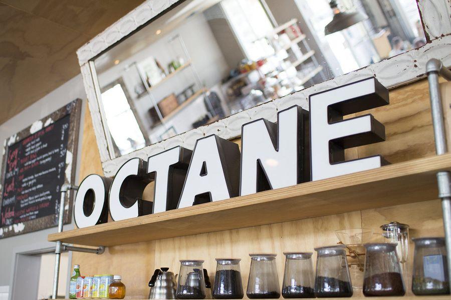 An Octane sign inside the company's Grant Park coffee shop.