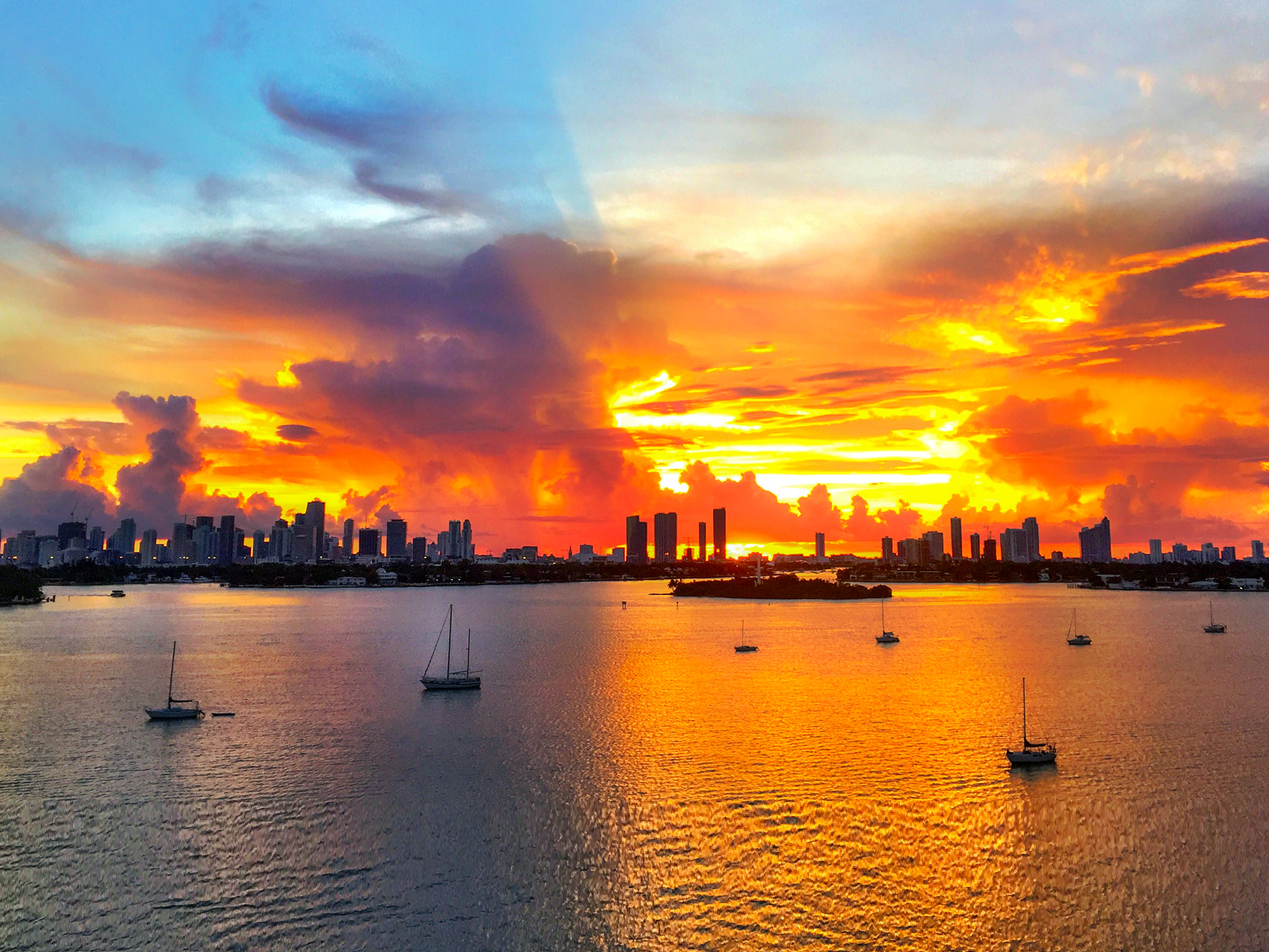 The sunset view from 1330 West Avenue, Unit #801 in Miami Beach