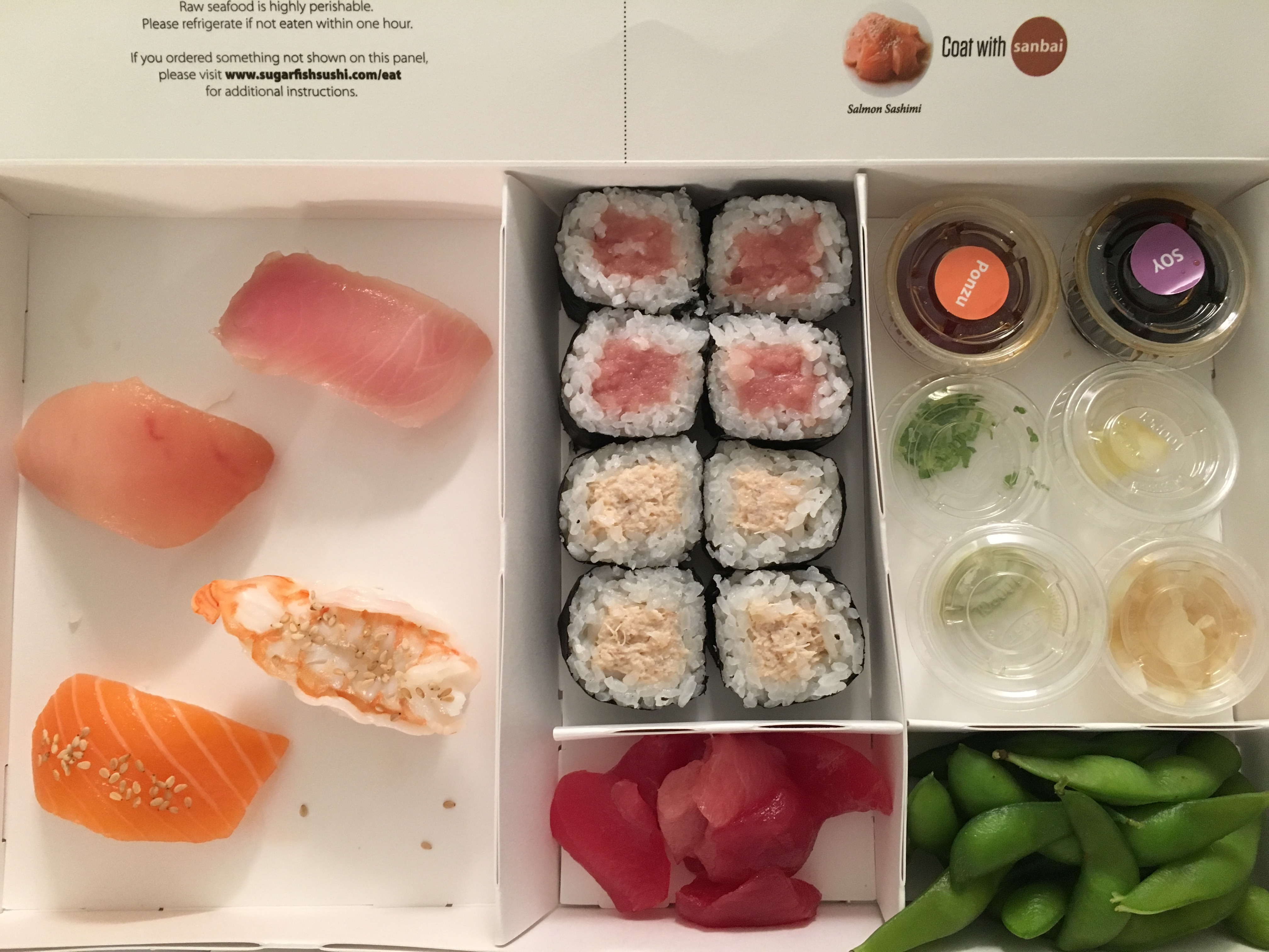 A Sugarfish delivery order