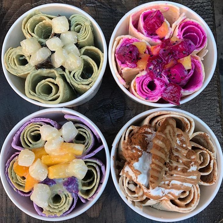 Rolled ice cream from Juicy Spot Cafe