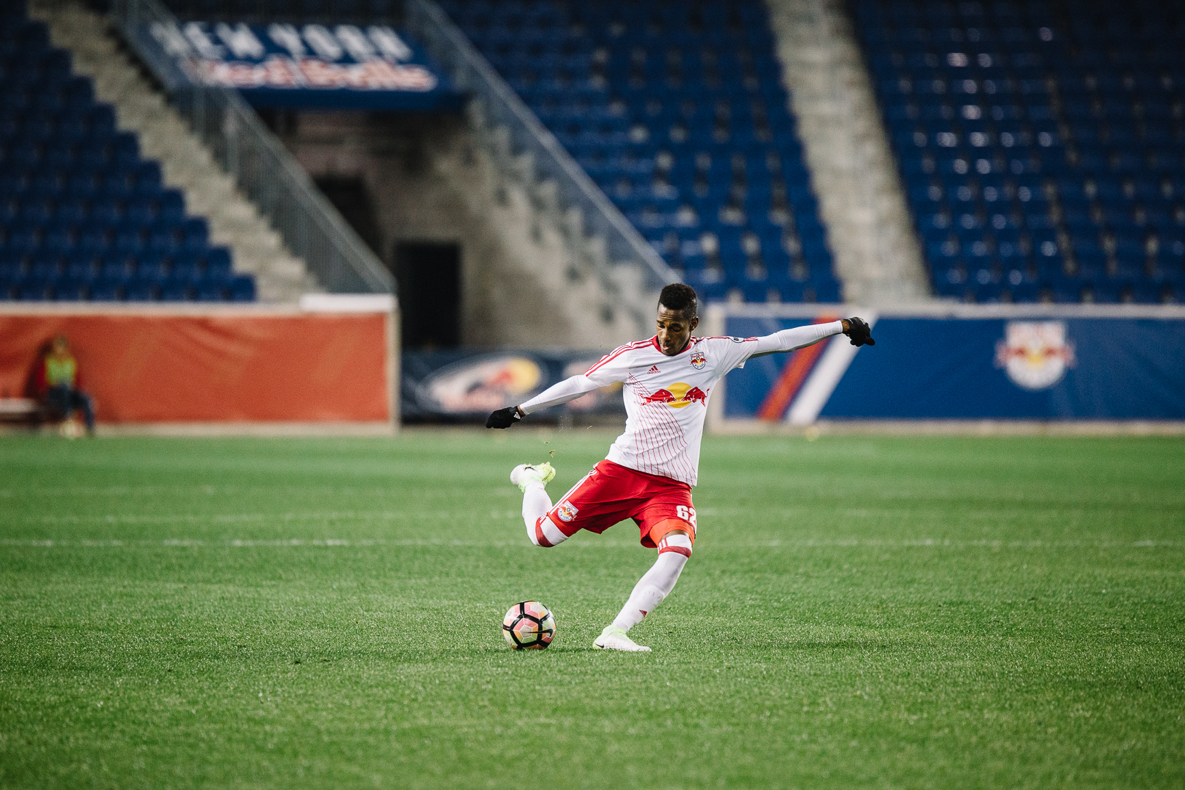 Michael Amir Murillo playing for New York Red Bulls II at Red Bull Arena; April 5, 2017