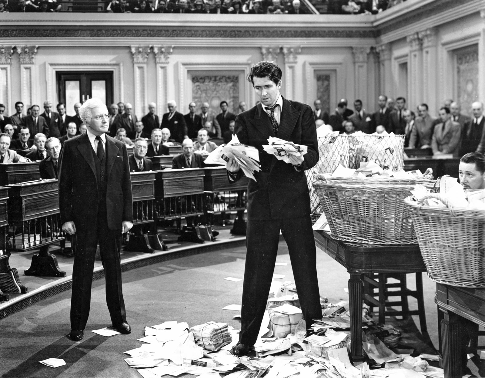 Claude Rains and Jimmy Stewart in Mr. Smith Goes to Washington