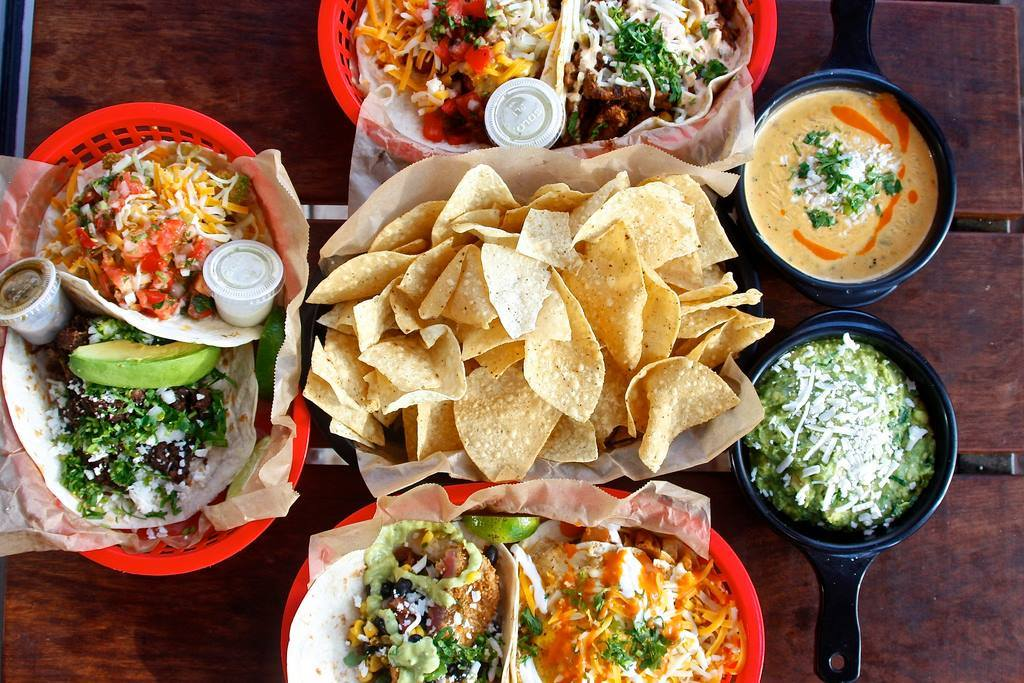 Tacos and queso from Torchy's Tacos