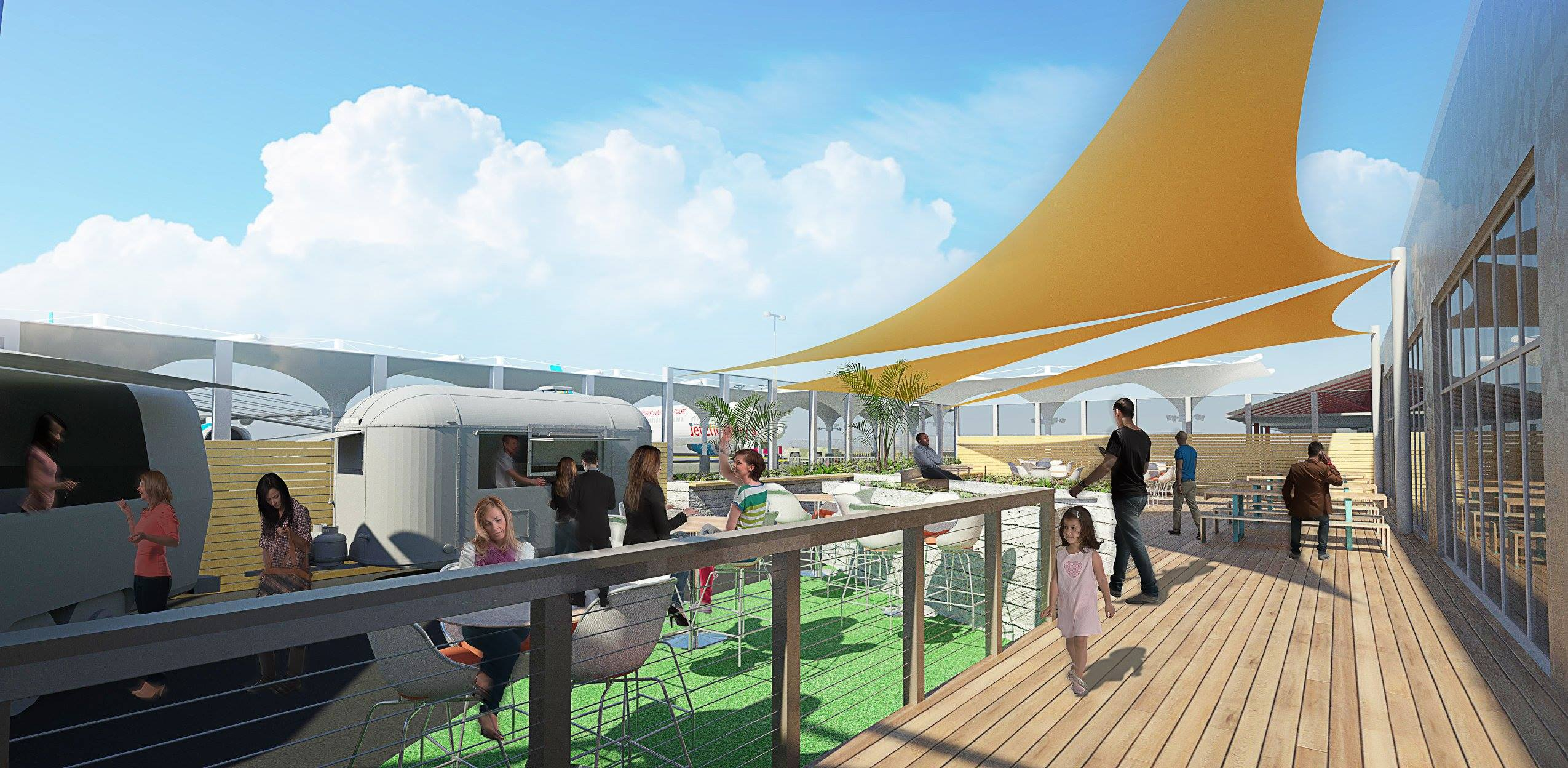 Rendering of the South Terminal's patio