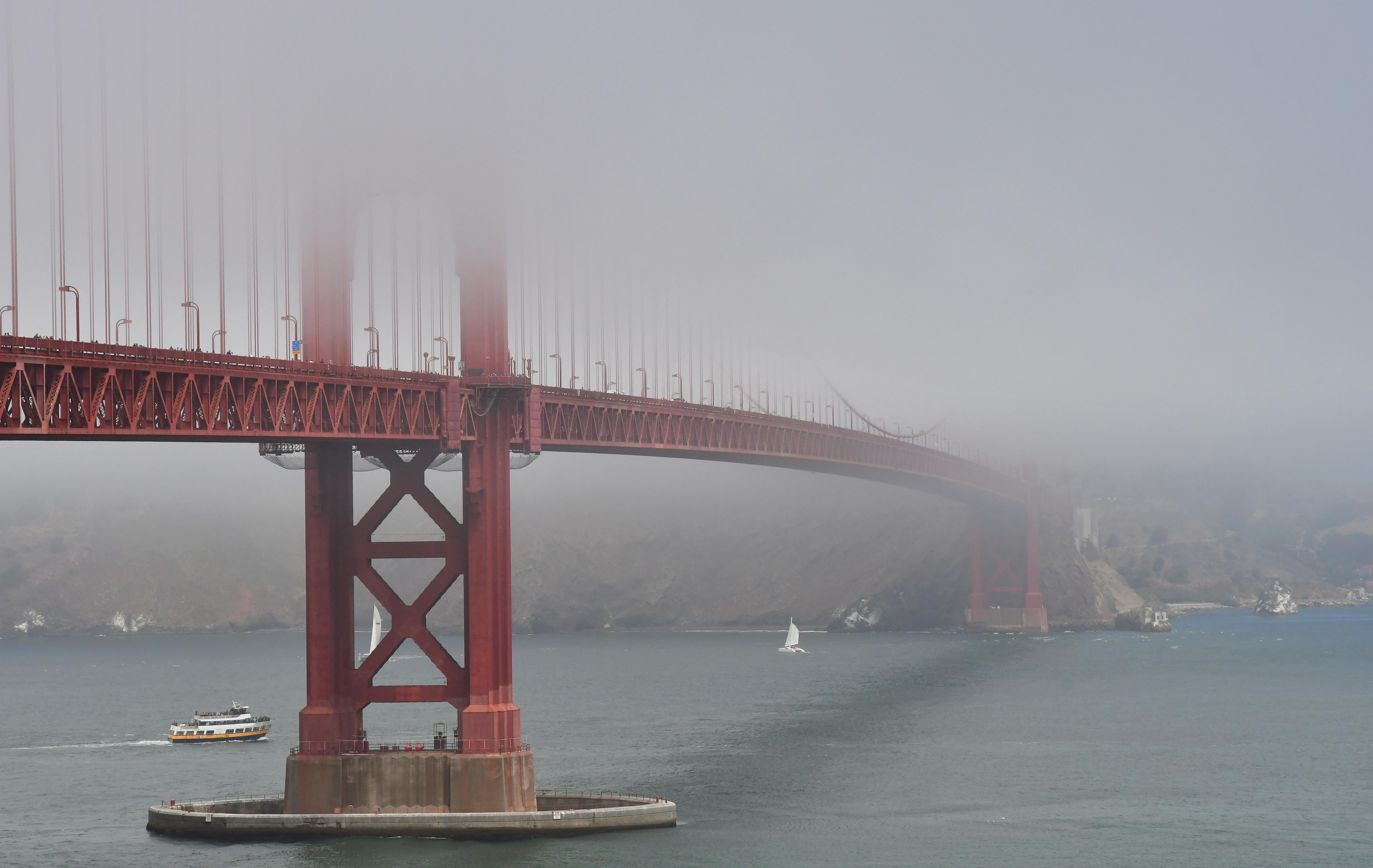 Golden Gate Bridge in the fog.