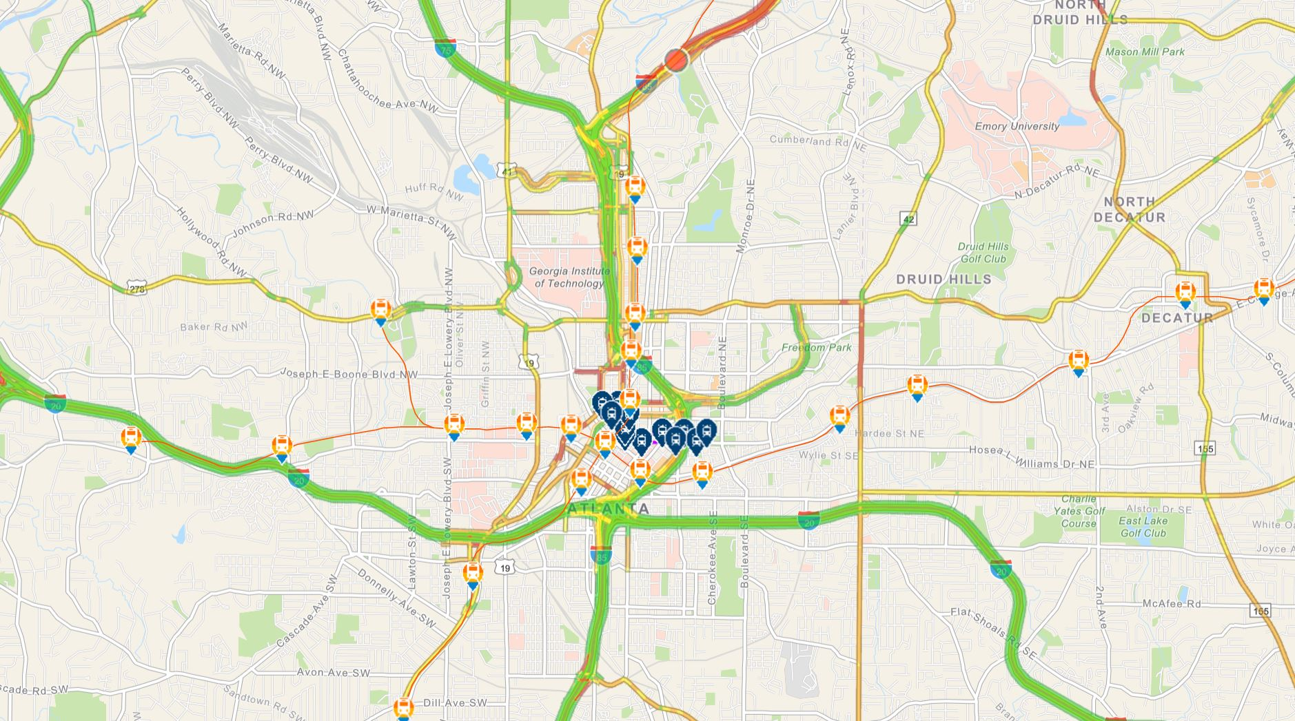 Map showing traffic, transit stations, and bike storage areas.