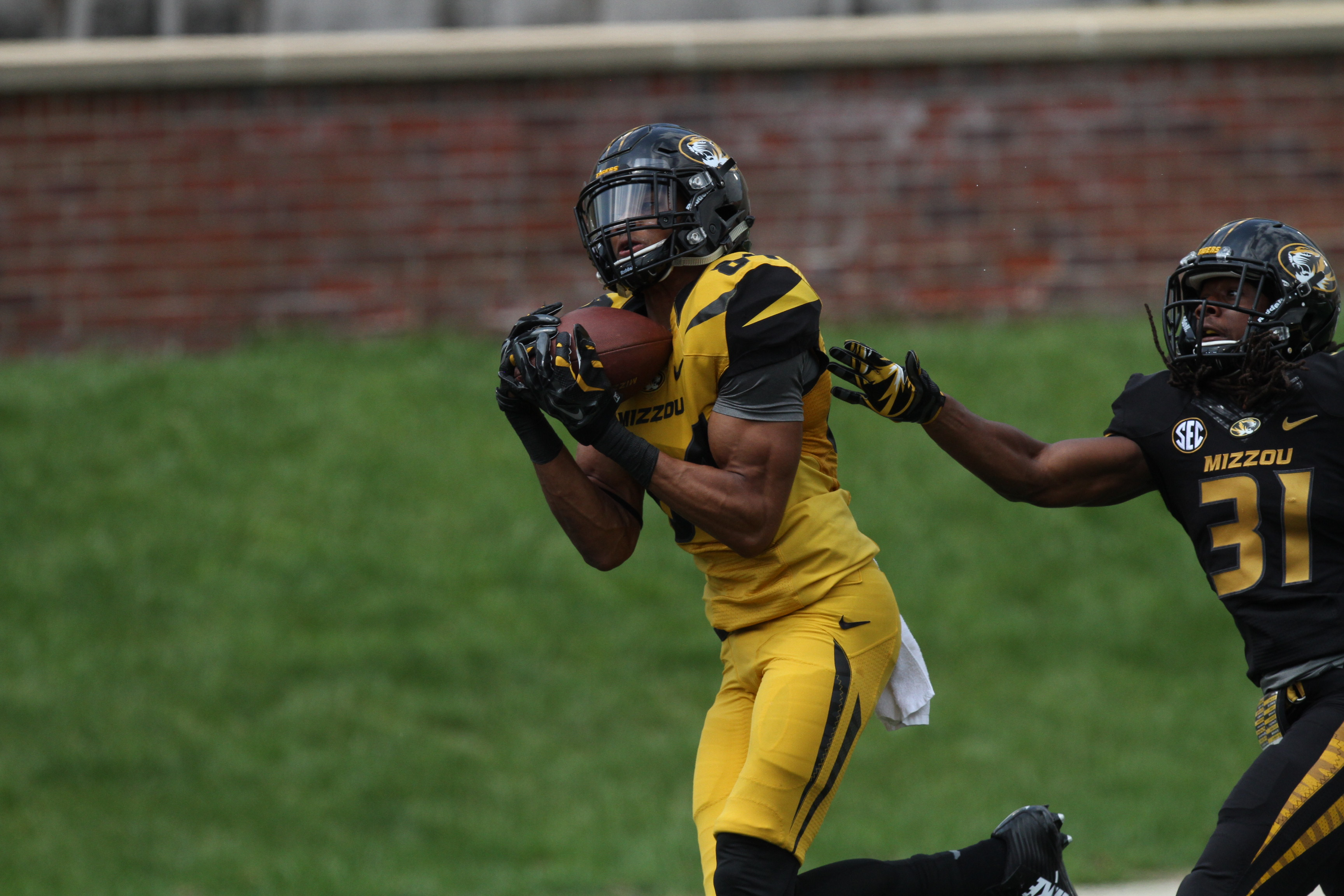 Emanual Hall catches a touchdown during Missouri's spring game