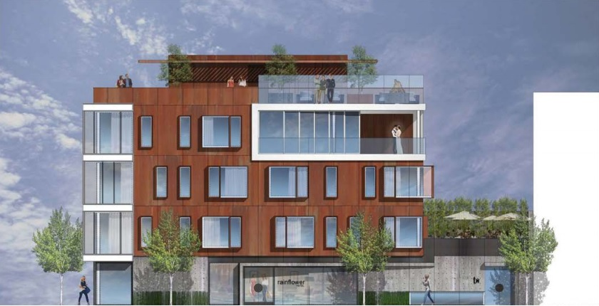 A rendering of a four-story hotel with roof deck.