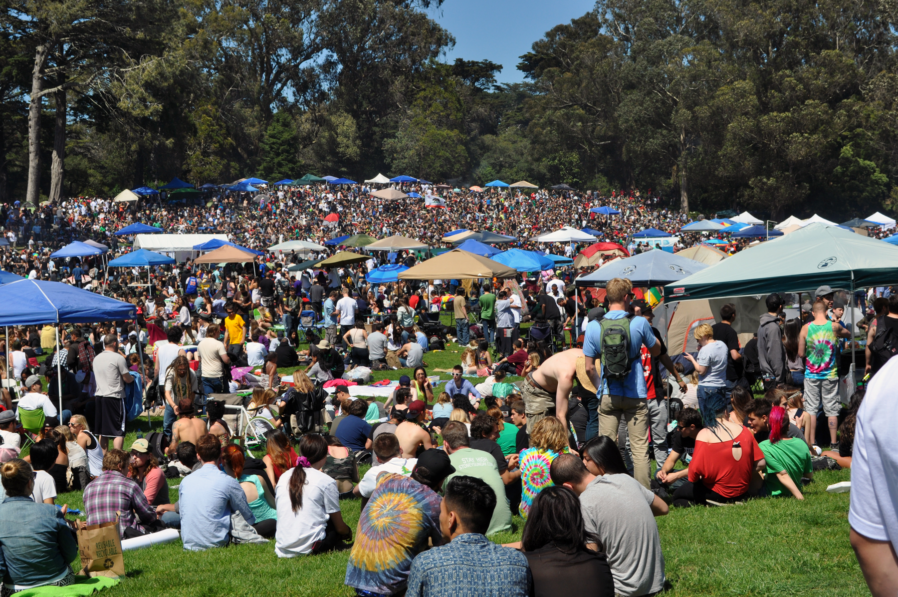 4/20 on Hippie Hill on Golden Gate Park.