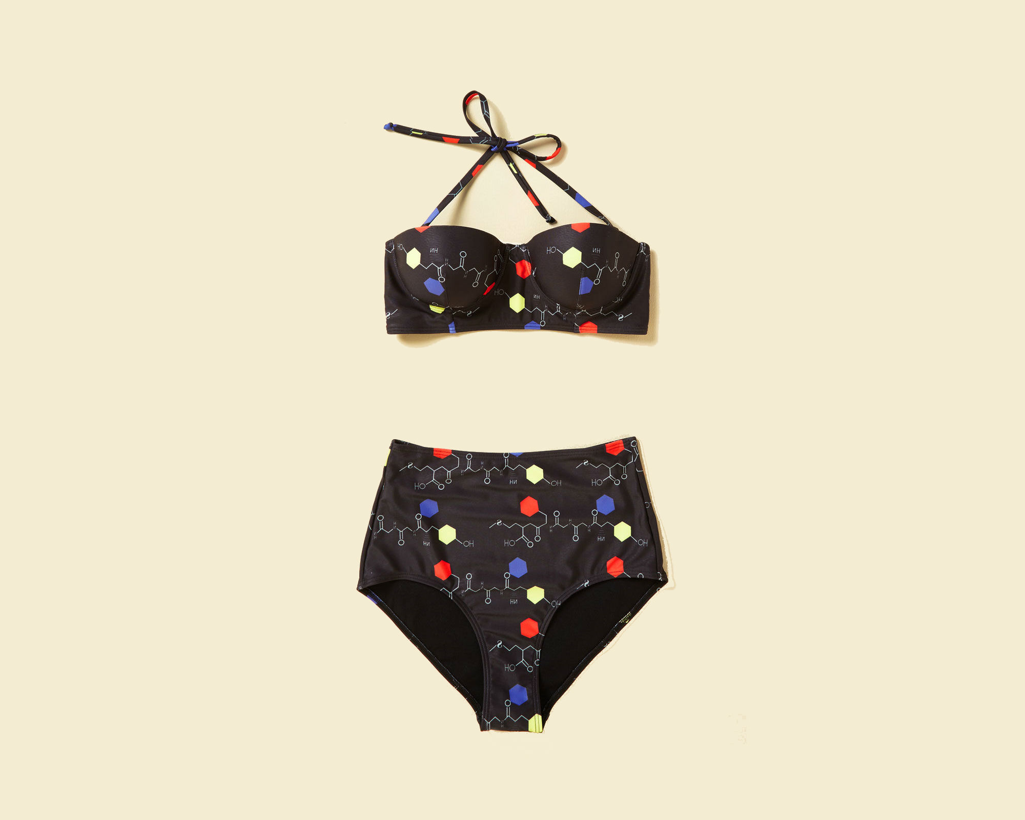 A bathing suit with 2-D molecular models