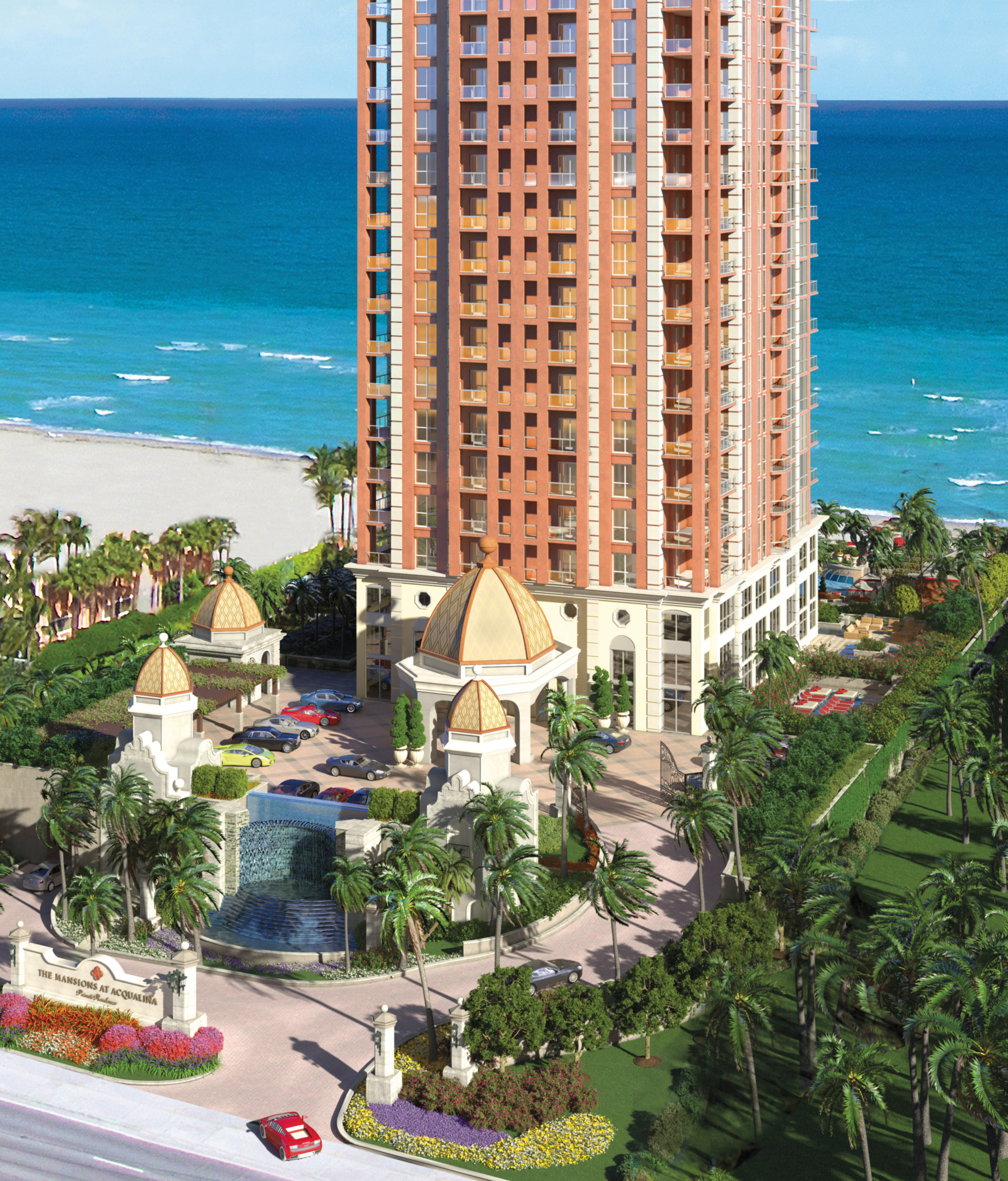 A view of Mansions at Acqualina in Sunny Isles Beach with the ocean in the background