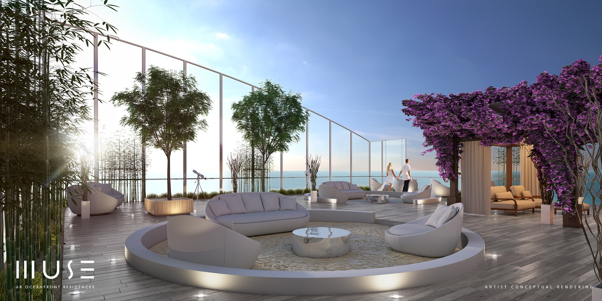 Rendering of the upper penthouse rooftop deck at Muse in Sunny Isles Beach