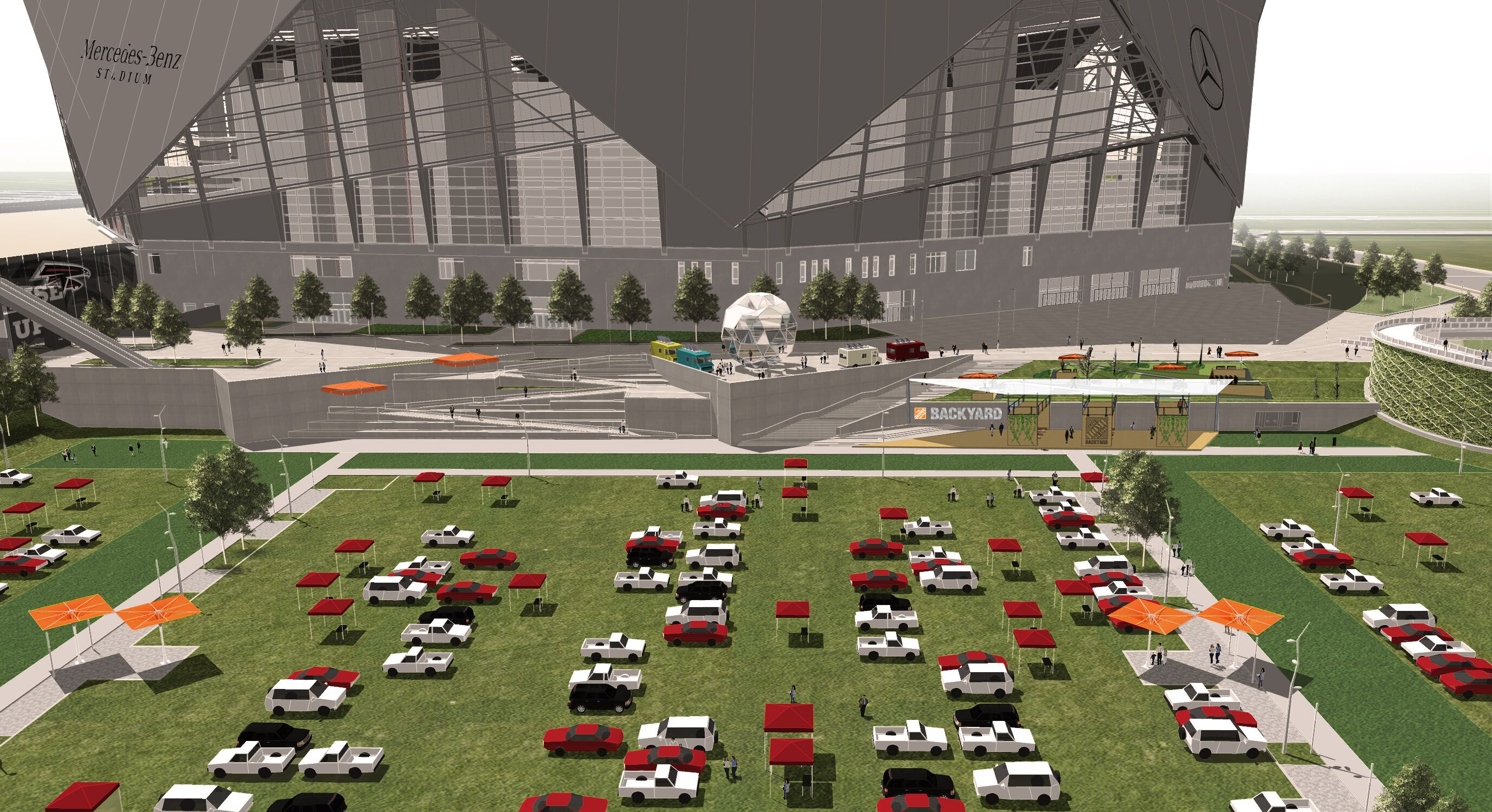 The new greenspace planned for the Atlanta Falcons new stadium in downtown Atlanta.