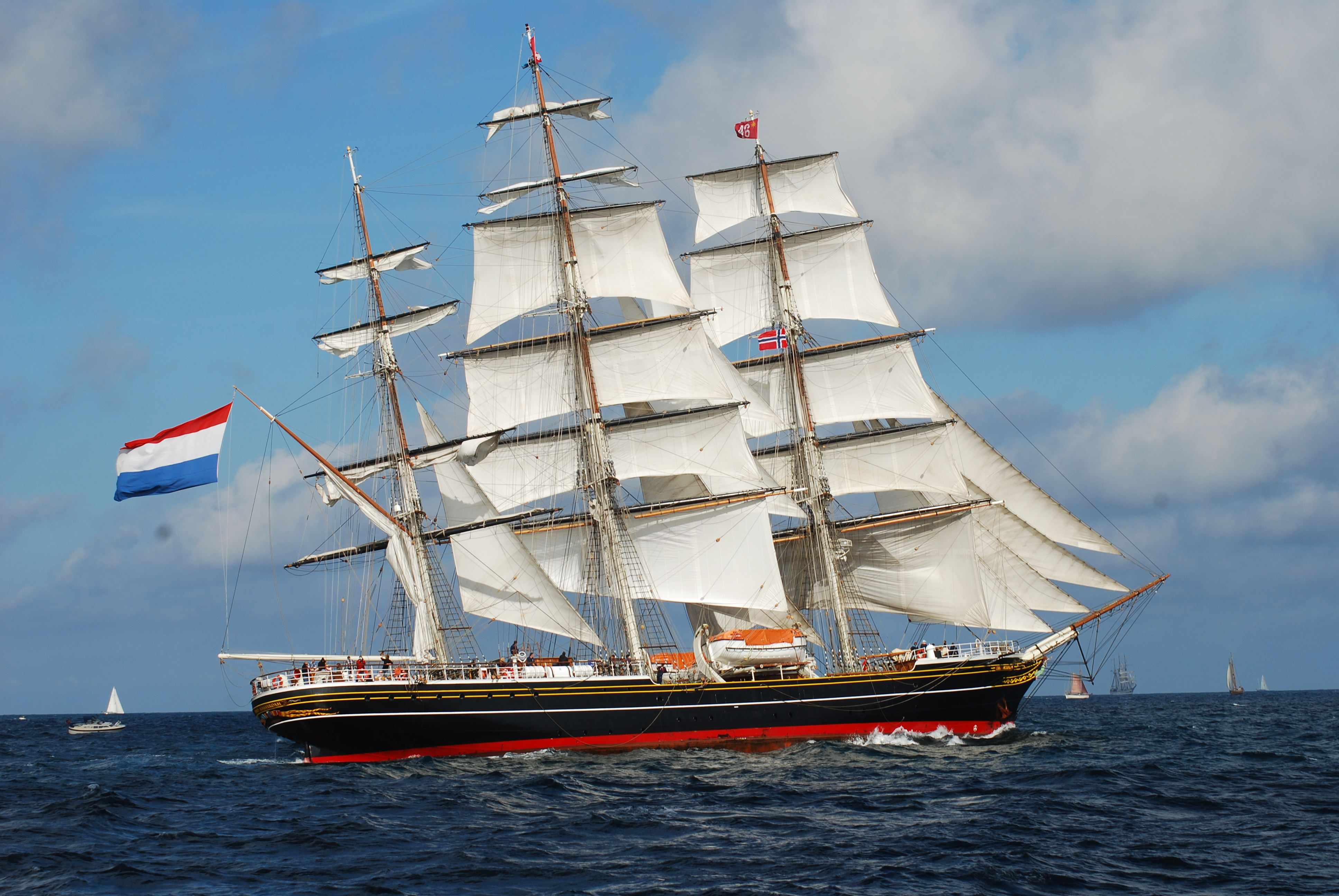 The Stad Amerstam, a sailing vessel that charters for over $100K per week