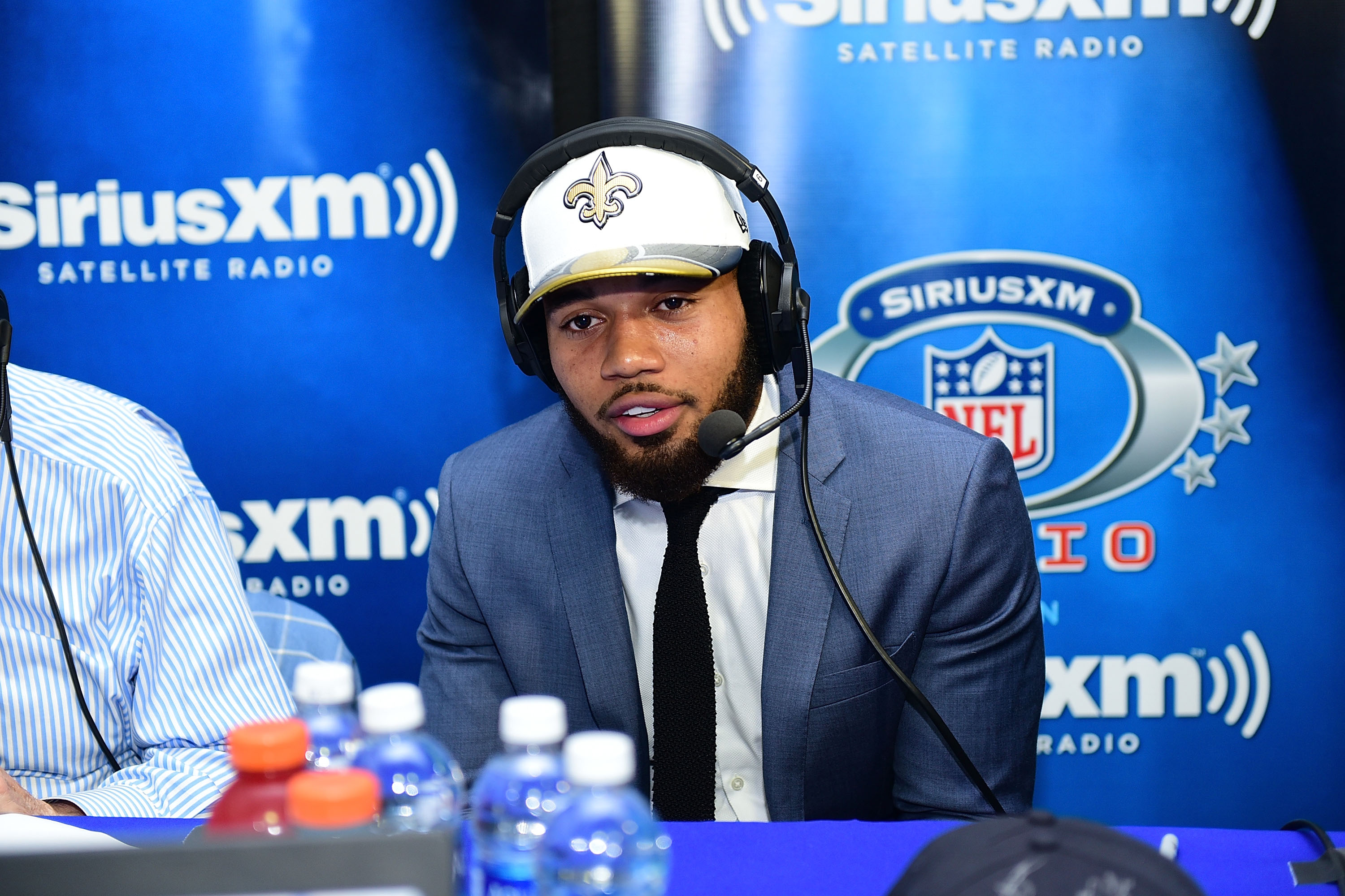 PHILADELPHIA, PA - New Orleans Saints cornerback Marshon Lattimore visits the SiriusXM NFL Radio talkshow after being selected with the 11th overall pick during the 2017 NFL Draft at the Philadelphia Museum of Art.