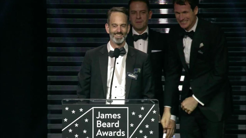 Steven Satterfield accepting his James Beard Award.
