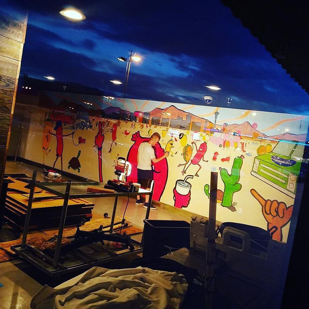 Sausagefest restaurant mural