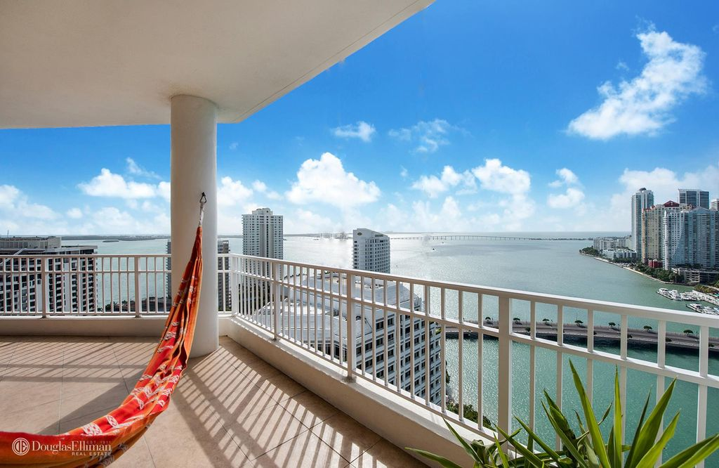 The incredible bay view from a penthouse for sale in Brickell Key