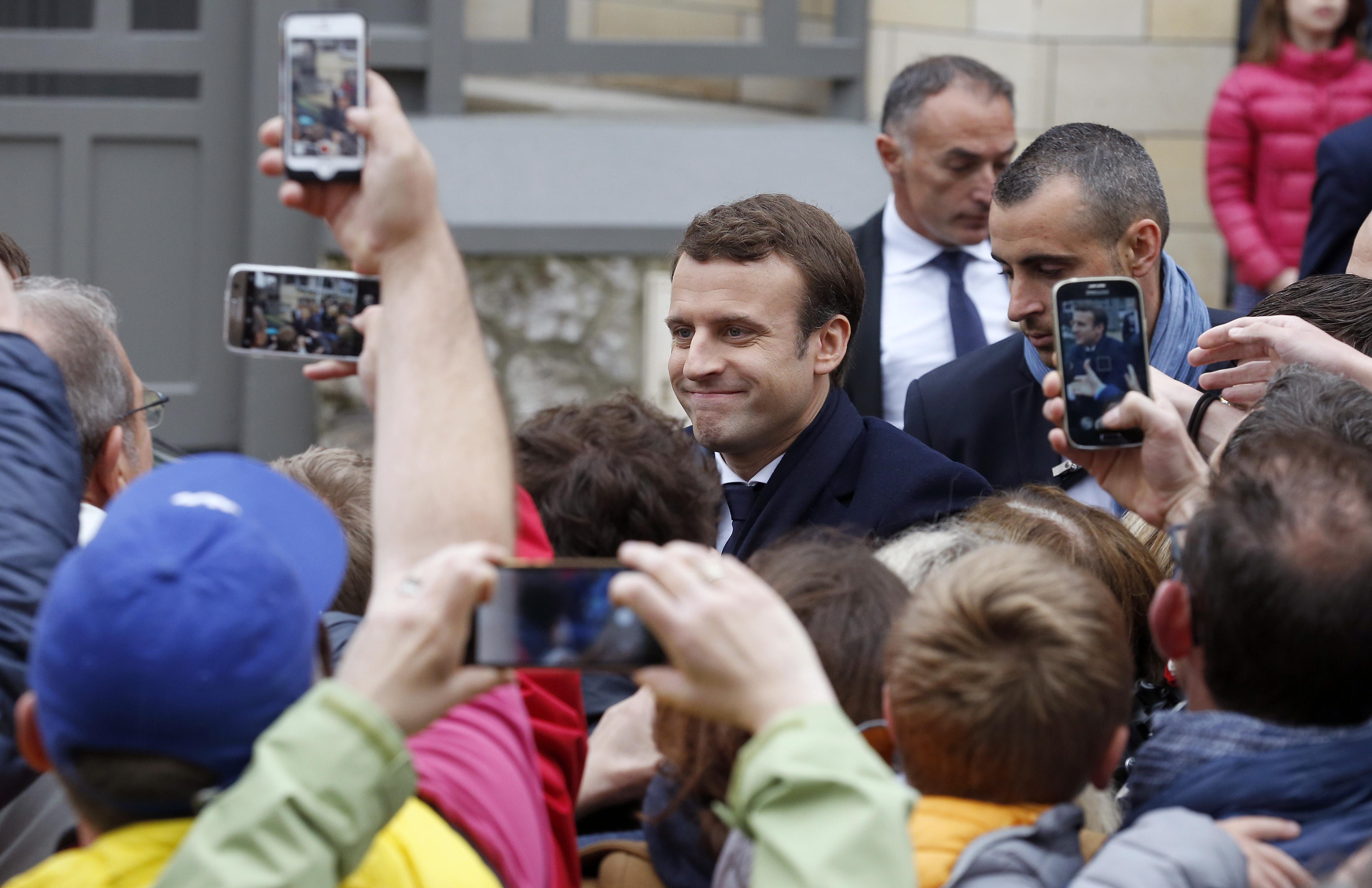 Presidential Candidate Emmanuel Macron Votes In Le Touquet