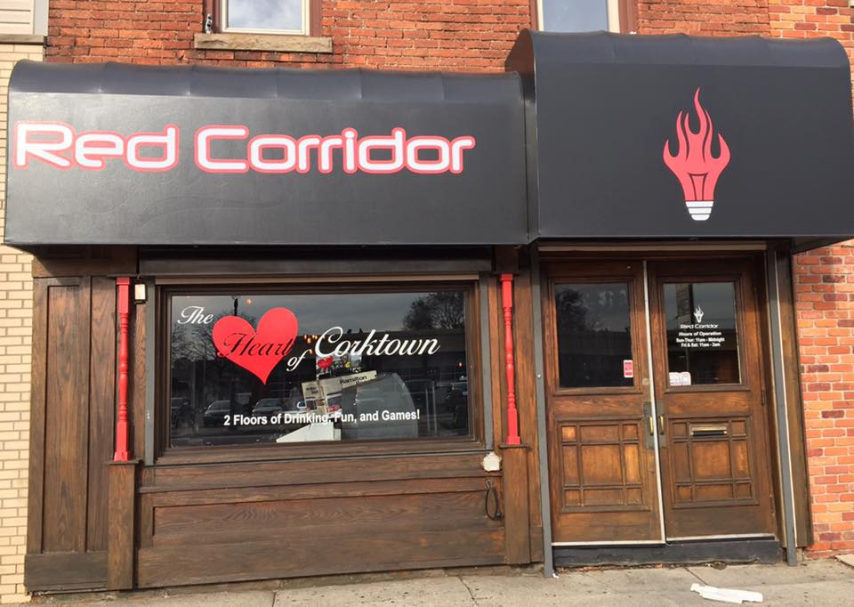 red corridor storefront