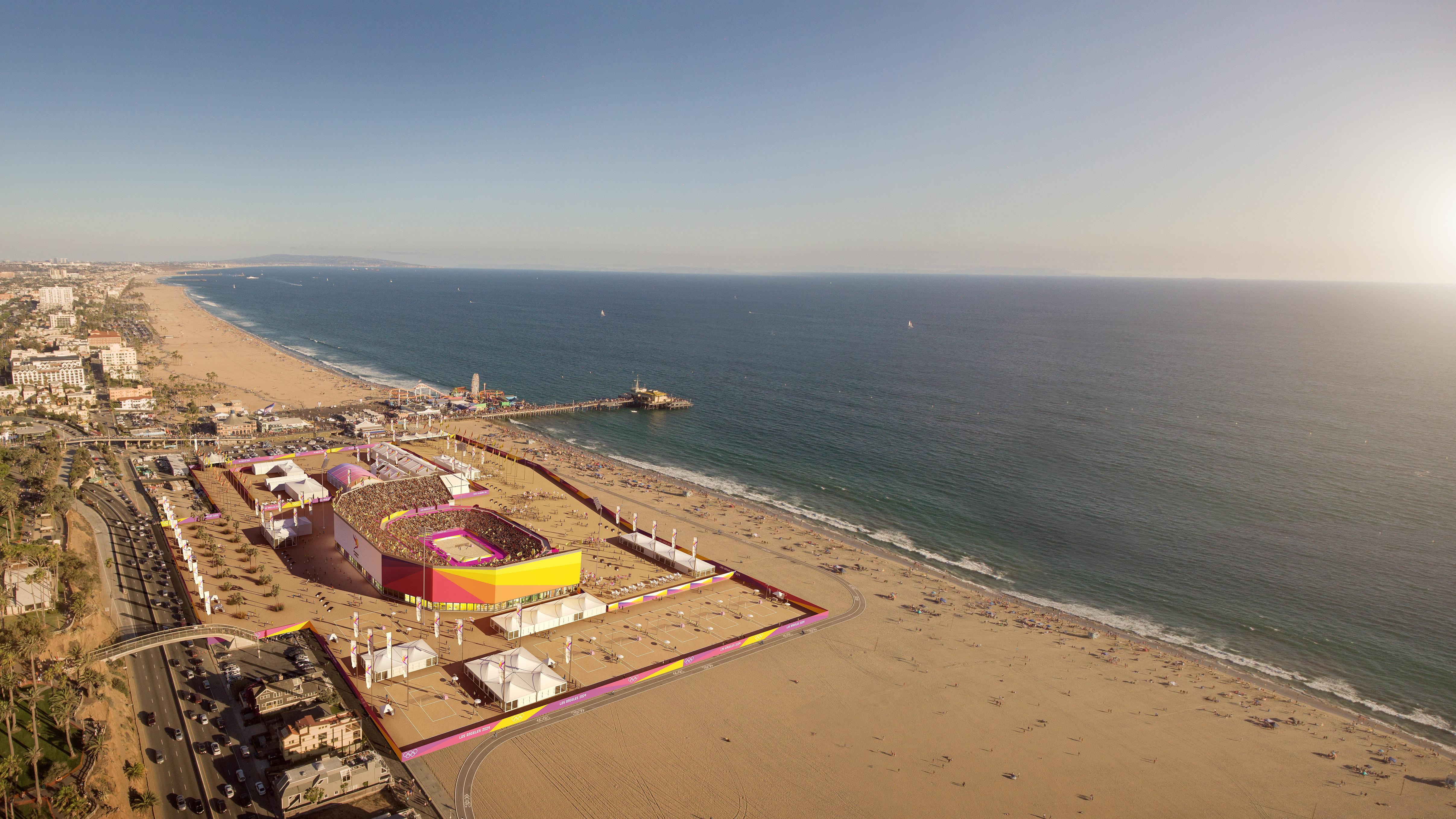 Temporary beach volleyball stadium