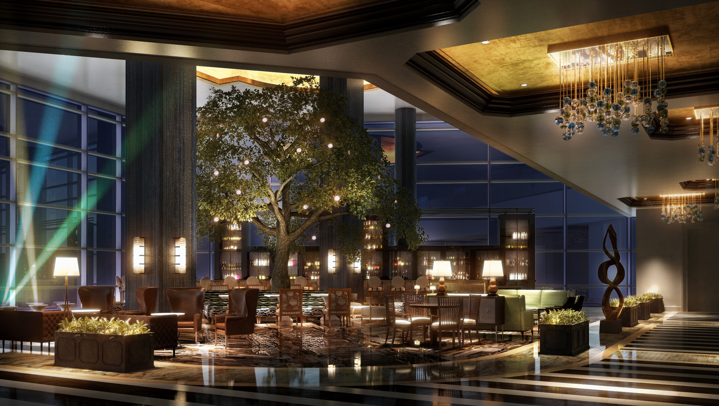 Rendering of Fairmont Austin's lobby lounge