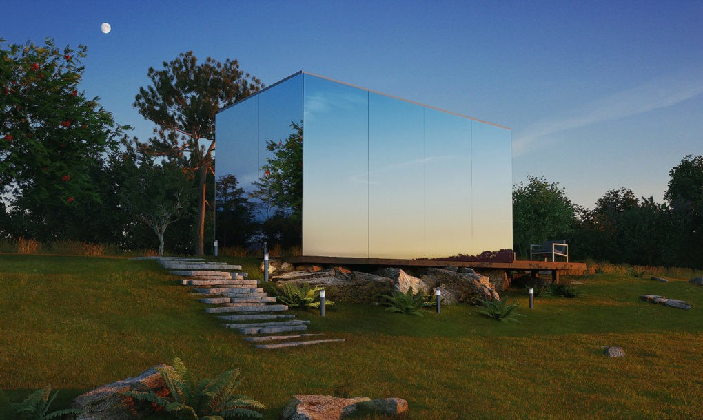 Mirrored prefab houses by ÖÖD install in 8 hours
