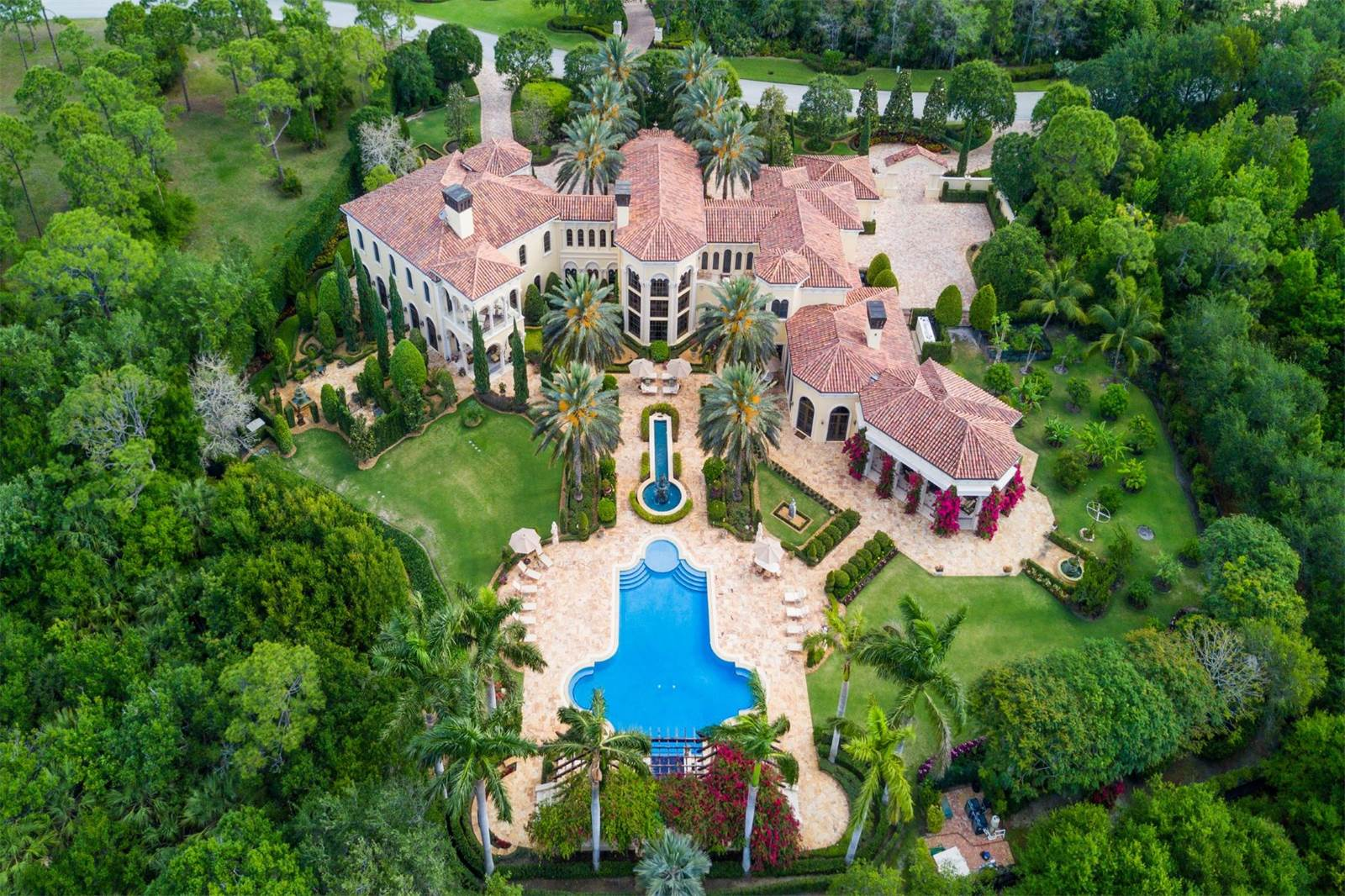 An aerial view of a goliath home for sale in Jupiter