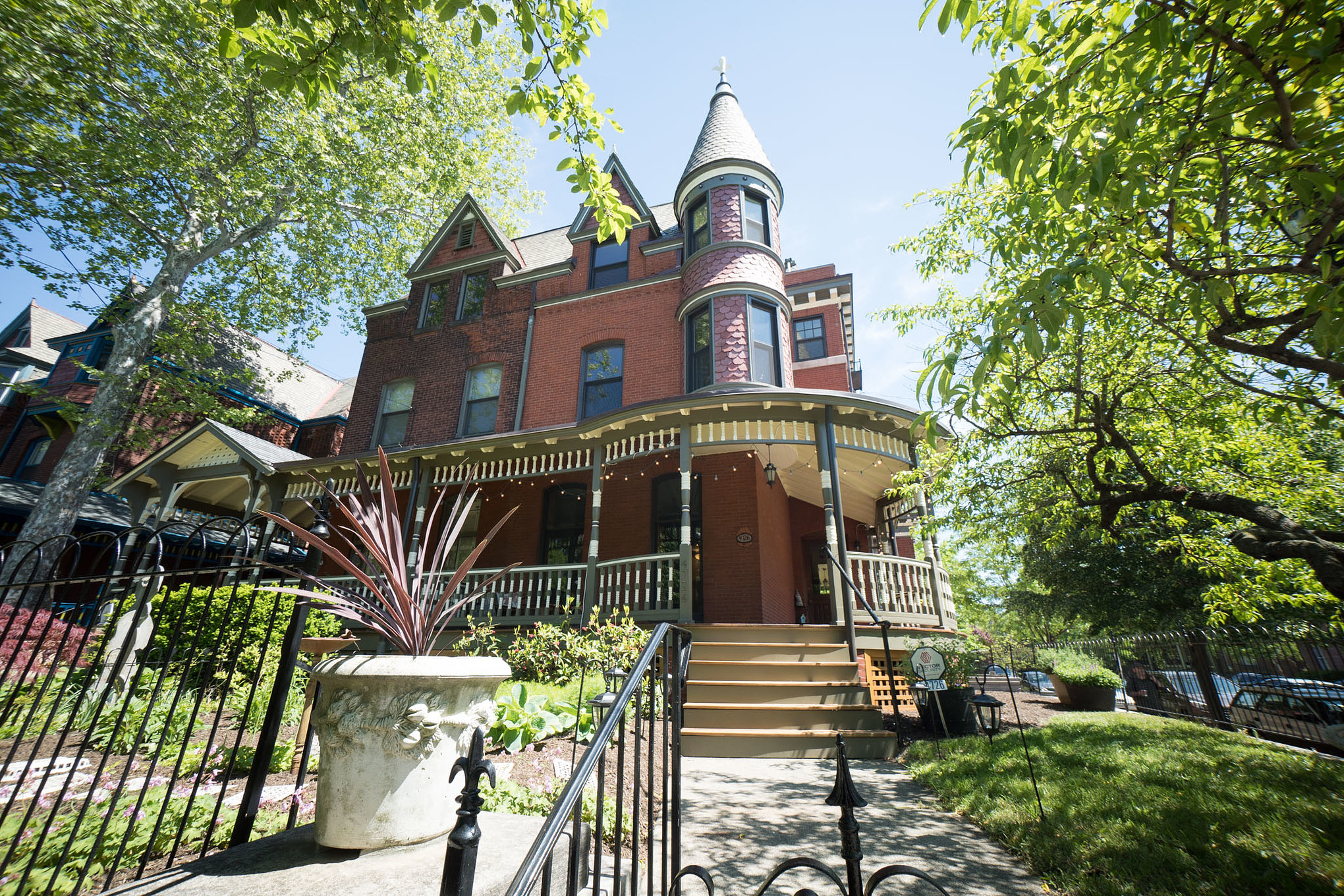 A Queen Anne Victorian with a wrap-around porch in West Philly.
