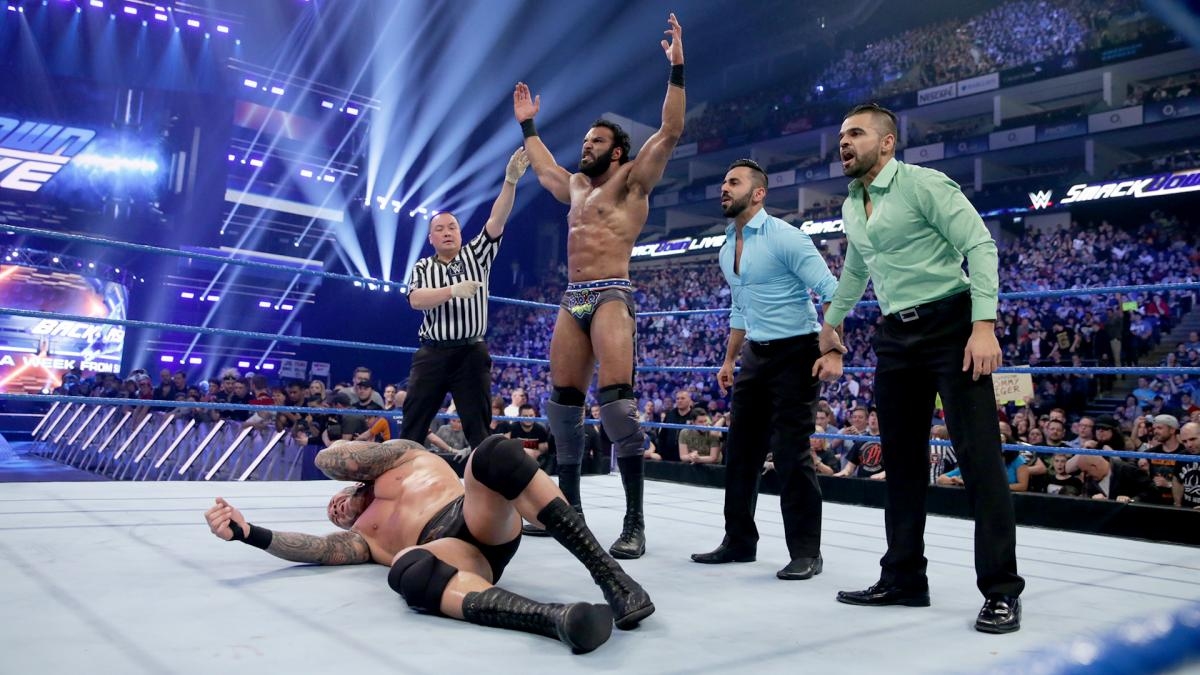 Jinder Mahal and The Singh Brothers stand tall over WWE Champion Randy Orton