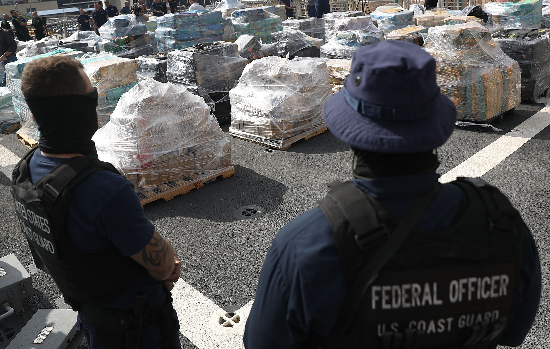 Florida Coast Guard Officials Display 26 Tons Of Seized Cocaine