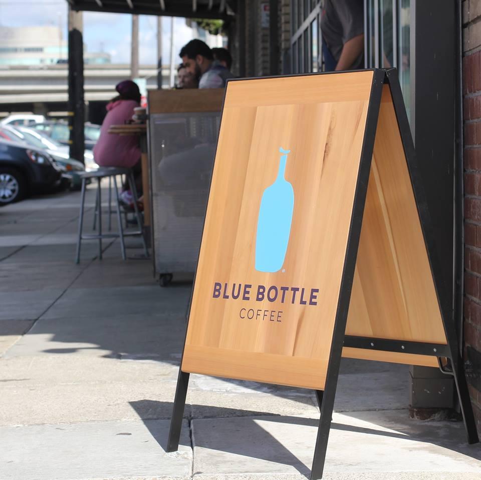 A sign for Blue Bottle in Oakland