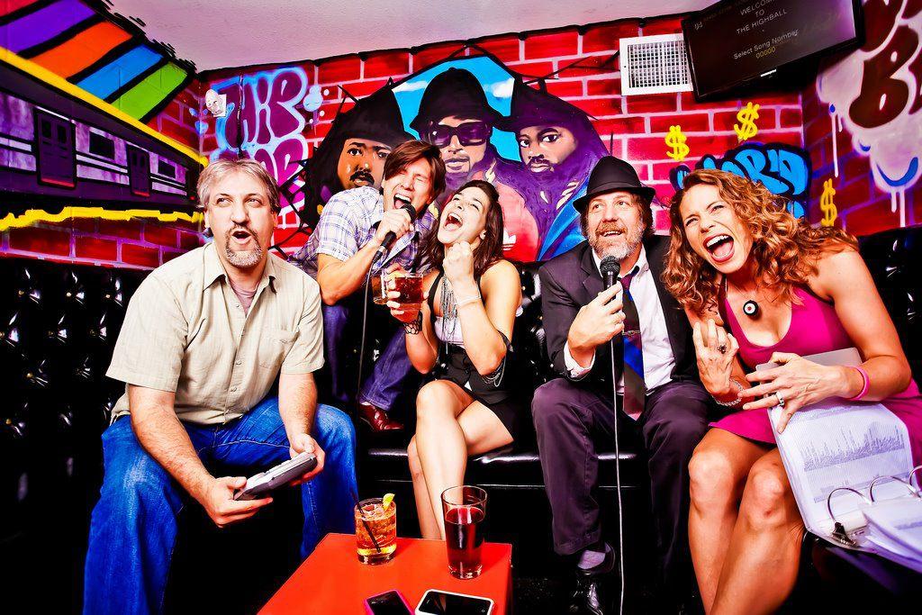 A karaoke room at the Highball