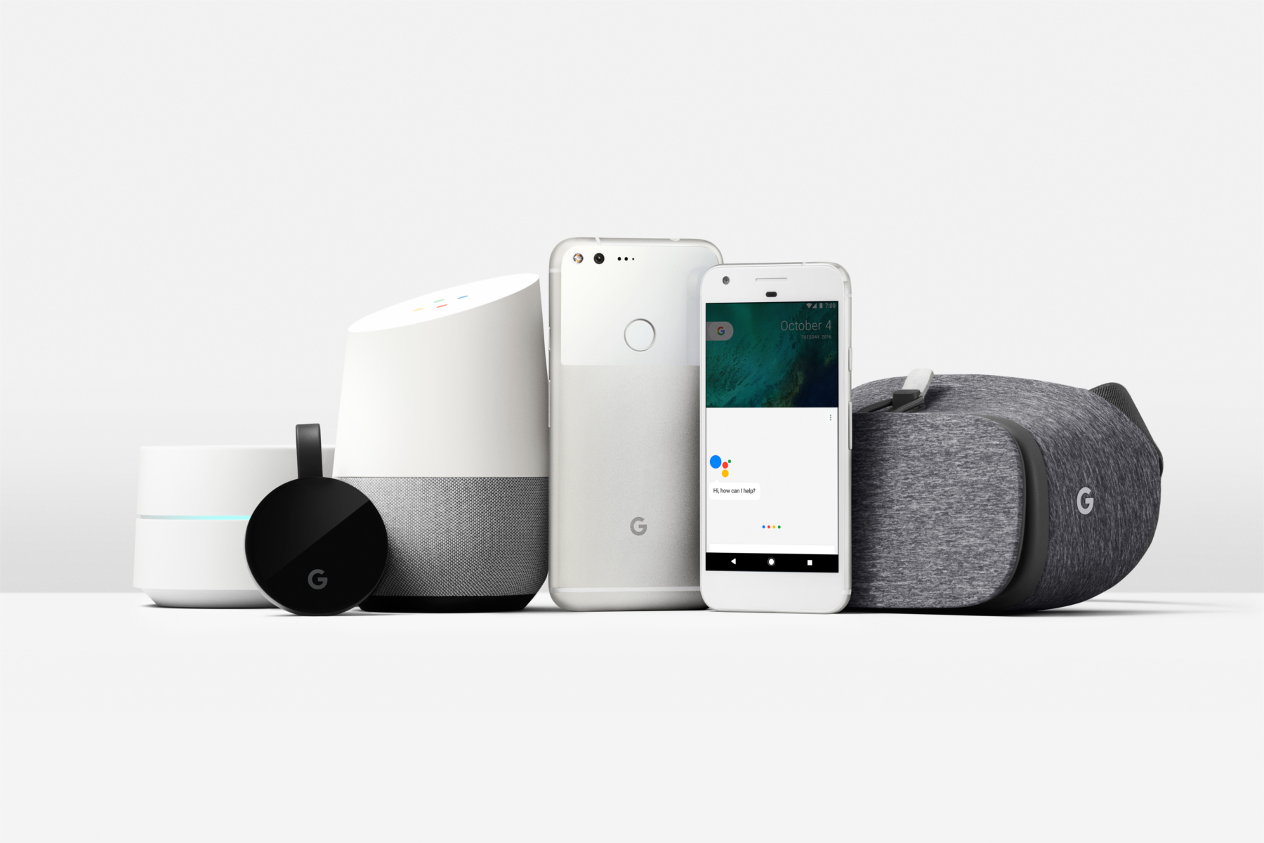 A collection of new Google products on a white background.