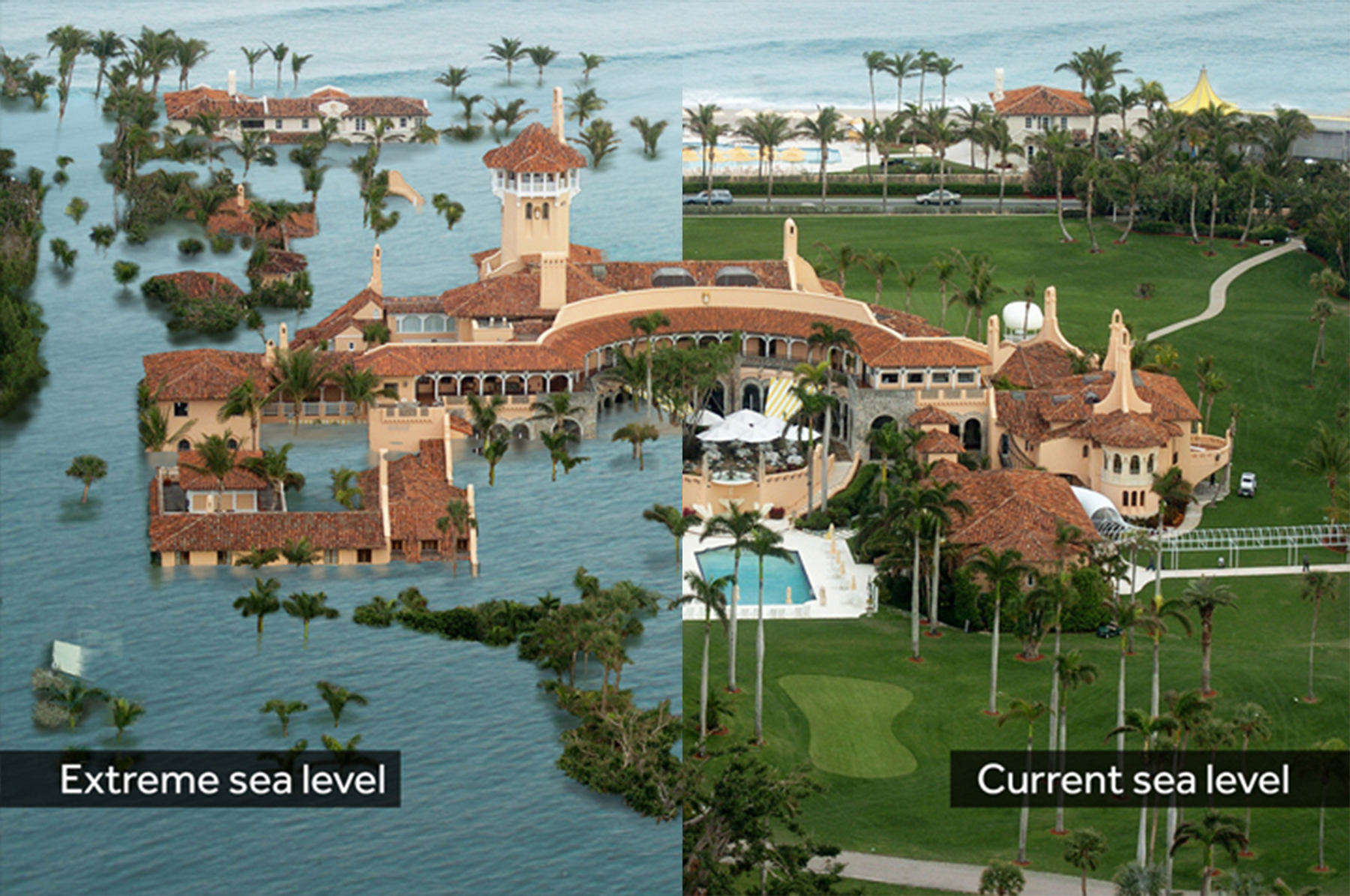 Photo of projected sea level rise at Mar-a-Lago