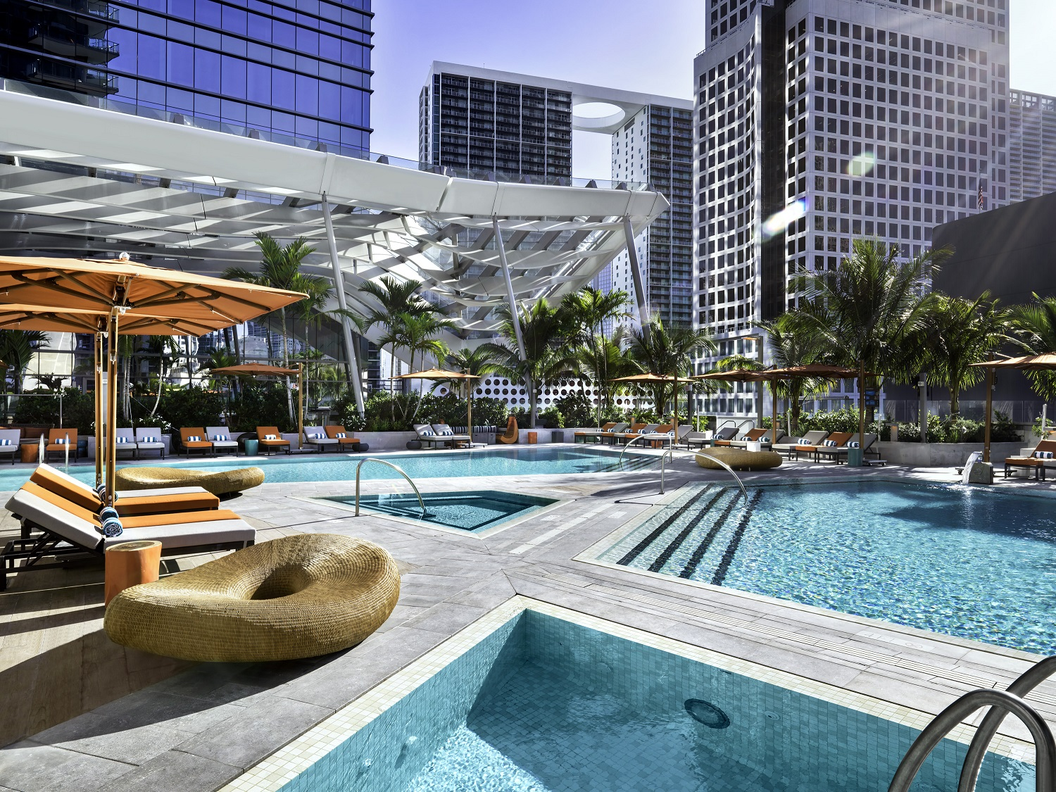 The pool deck at East, Miami in Brickell City Centre