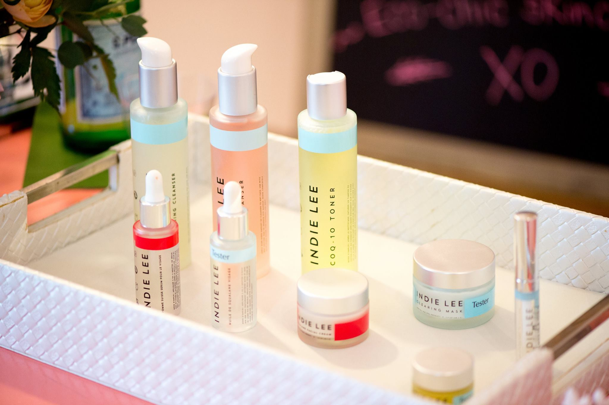 Colorful skincare products from the brand Indie Lee