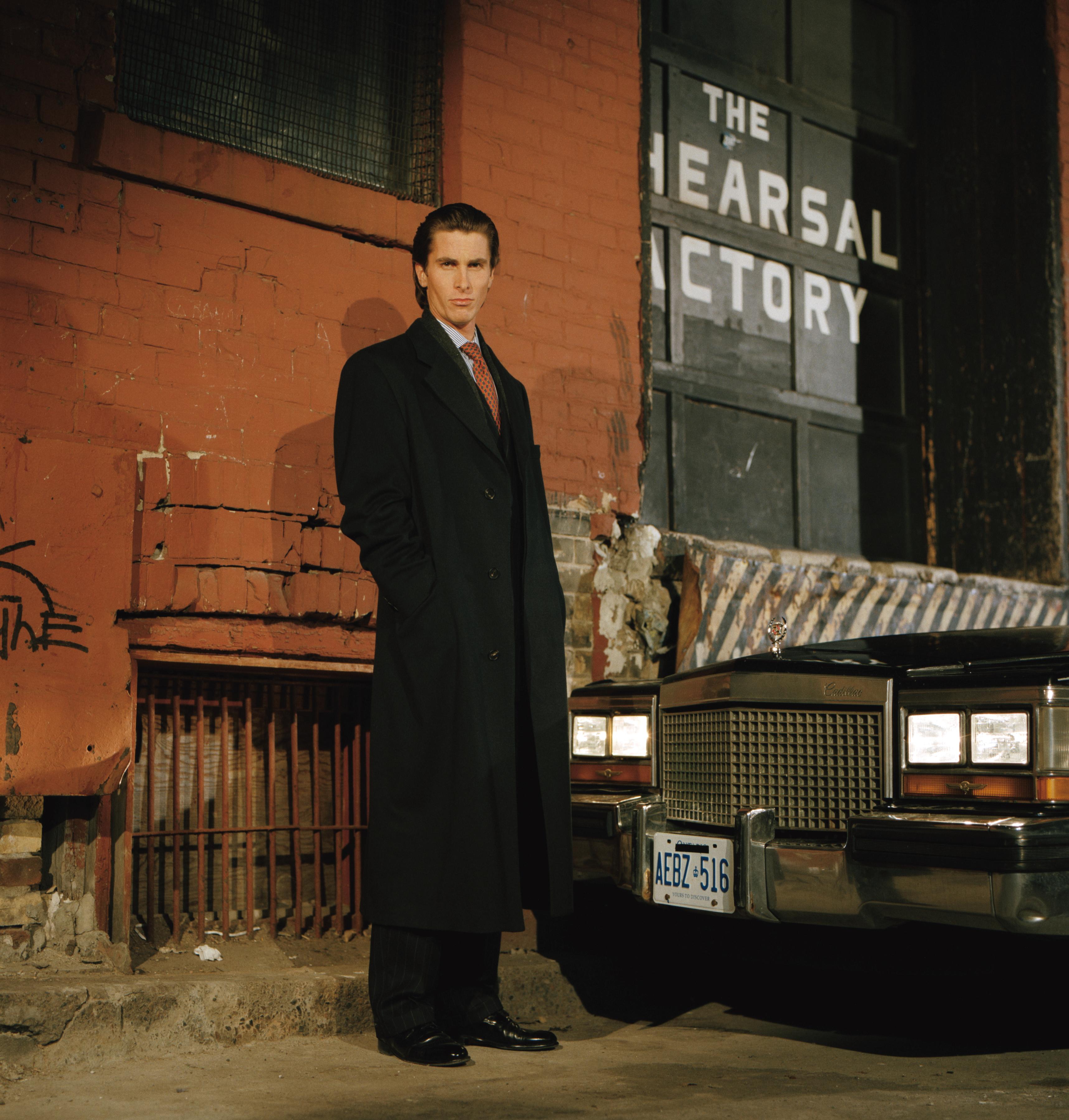 Christian Bale as Patrick Bateman on set of American Psycho