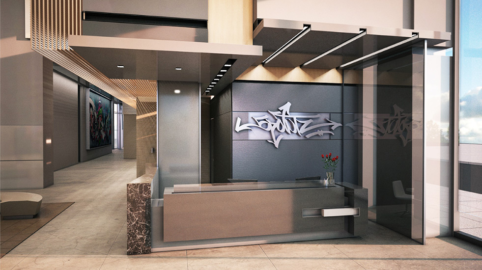 The lobby of a residential building. There is a sign above the desk that reads: 5 Pointz.