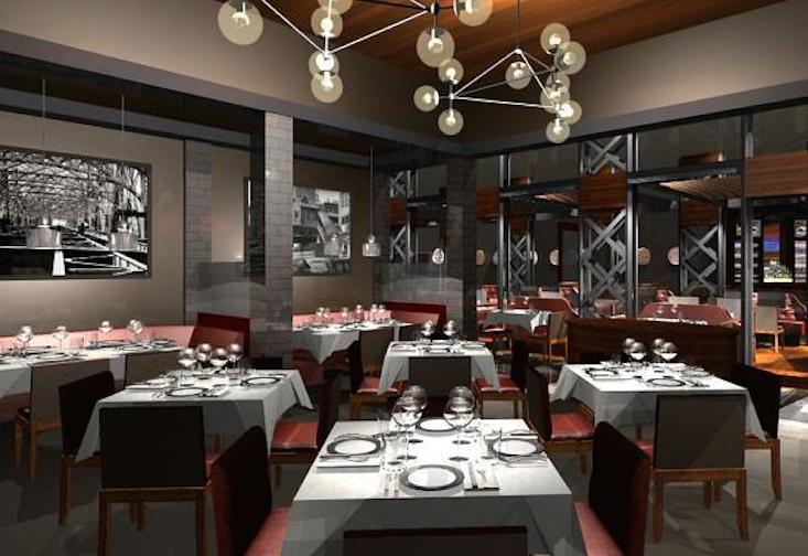 Gray-colored restaurant interior
