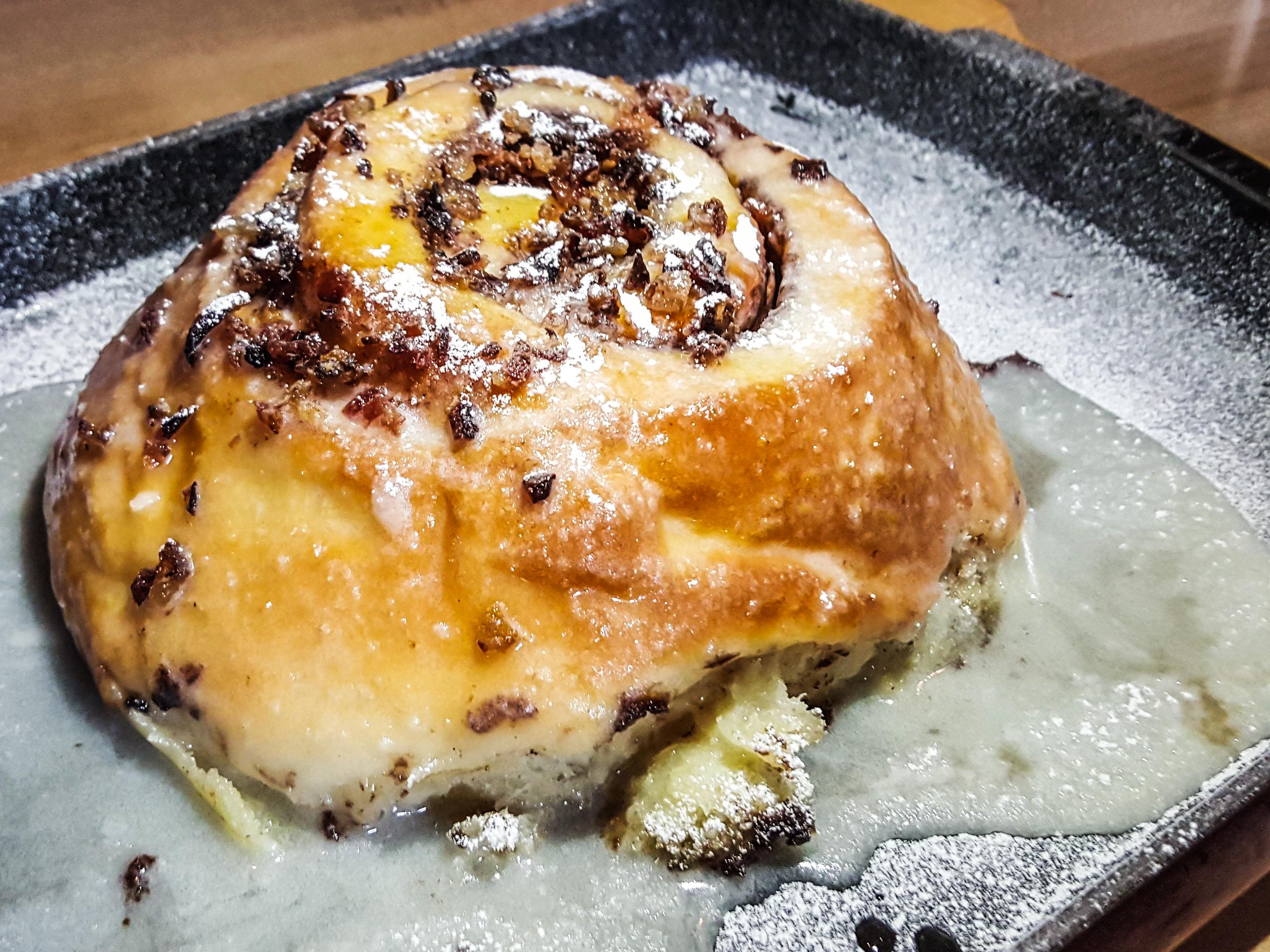 Cinnamon bun at Area Four Boston