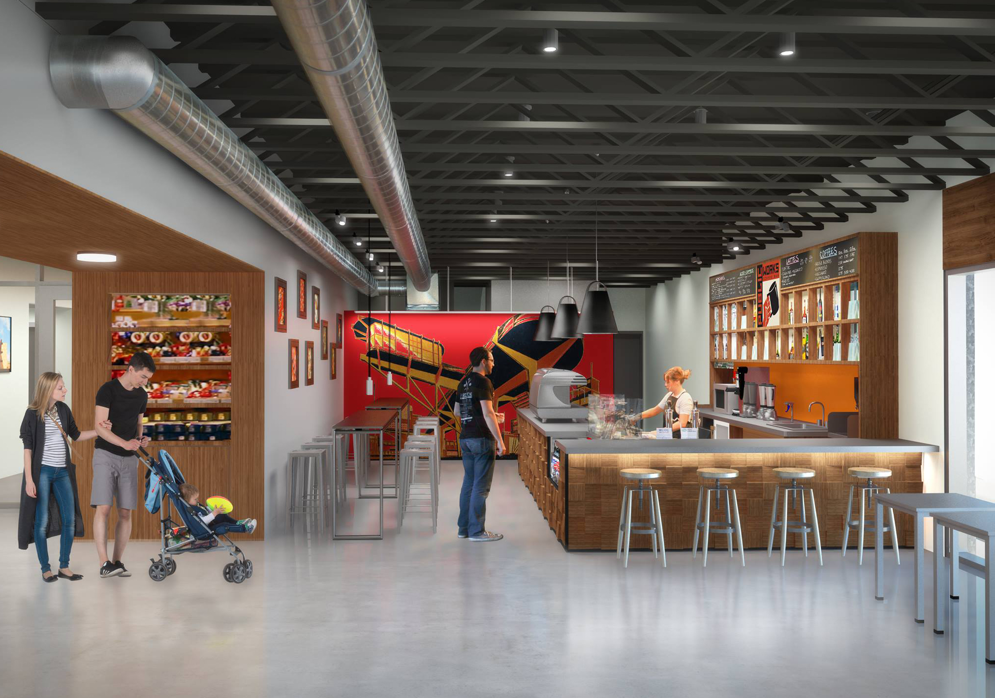 Public Works Coffee Bar rendering