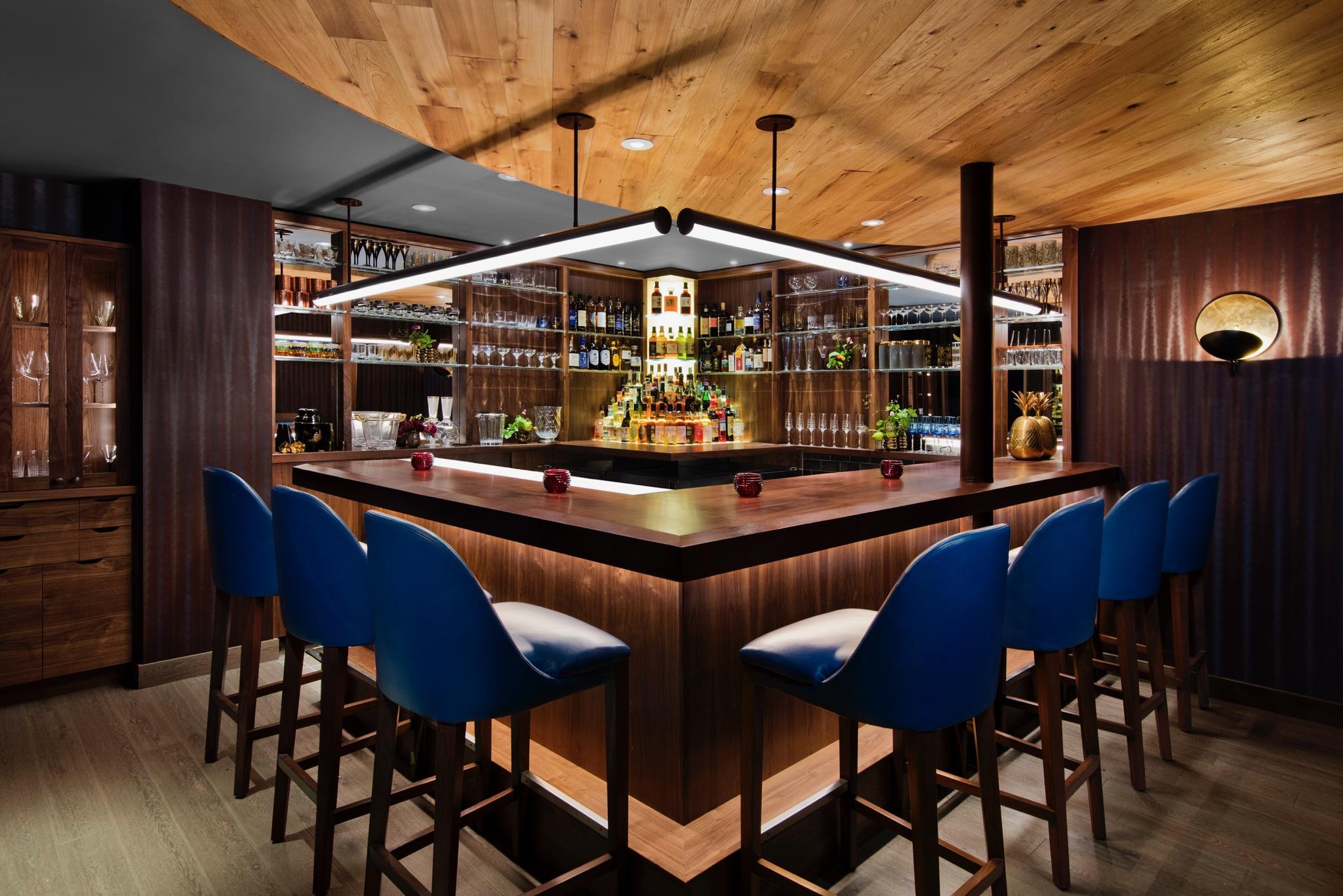 The bar at Uchu with high blue stools