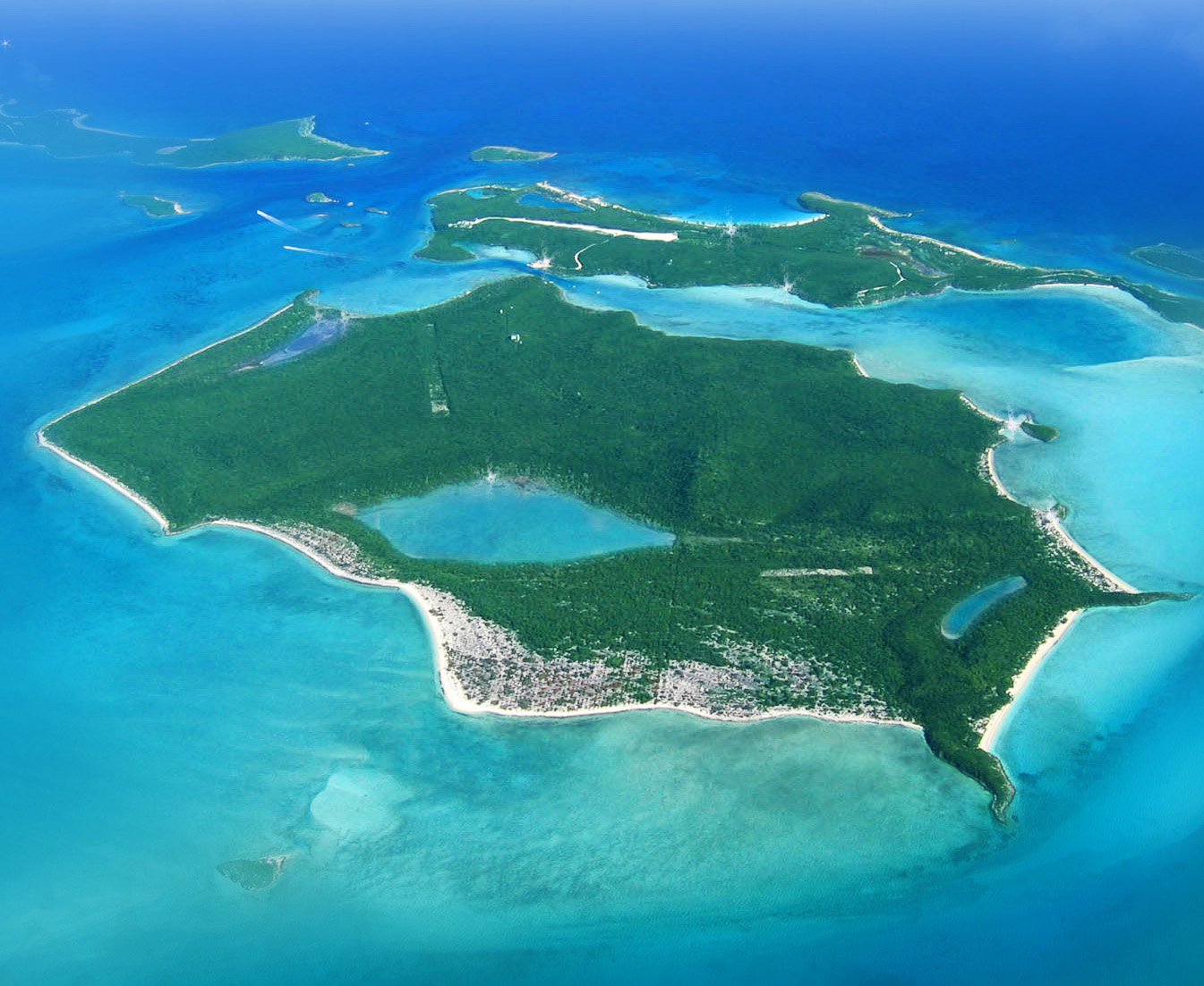 An aerial of Big Darby in the Caribbean