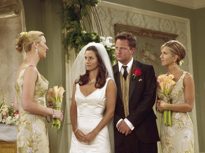 1ffa40c211be  Friends  Costume Designer Looks Back on 10 Seasons of Weddings. From  Rachel s unforgettable dress in the ...