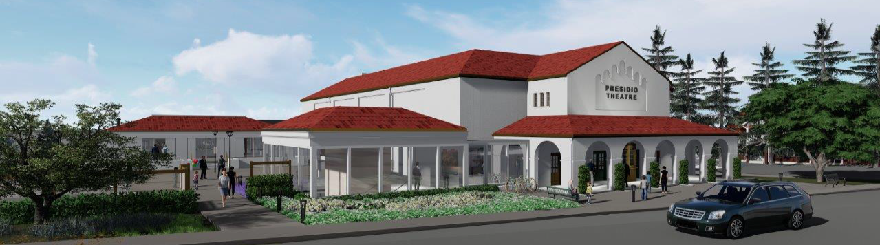 A rendering of the Presidio Theater, with its faux-Spanish Colonial architecture.