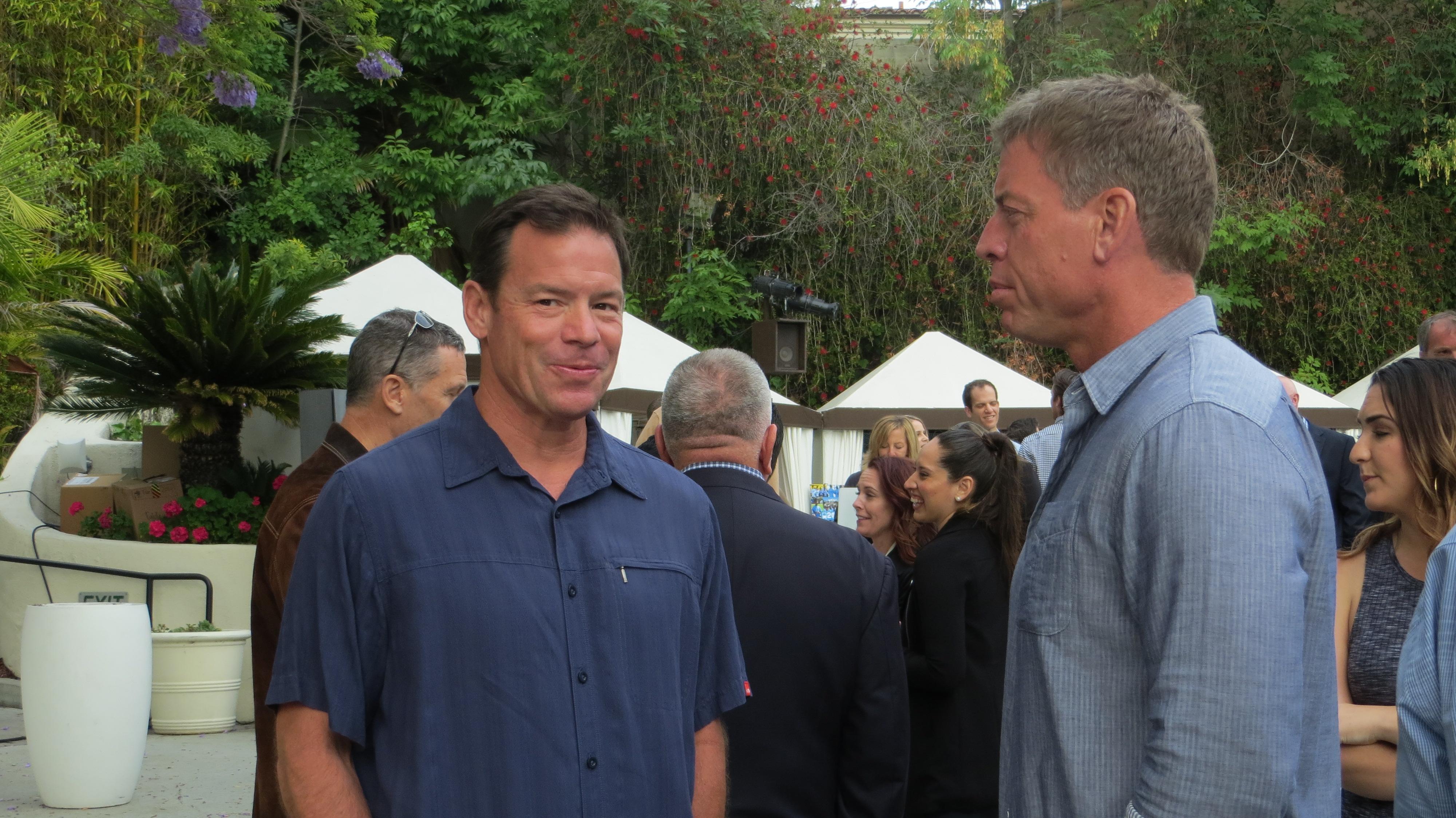 UCLA Coach Jim Mora and Troy Aikman