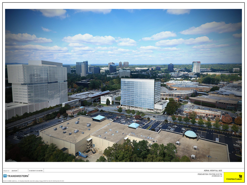 A rendering of the building, adjacent to the Dunwoody MARTA station.
