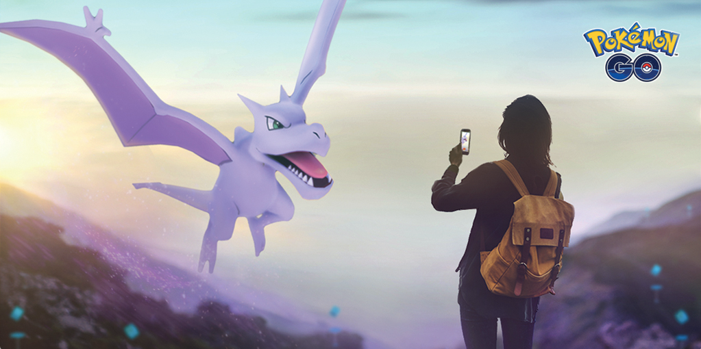 Image of dragon flying in front of girl wearing backpack and holding a phone in front of it.