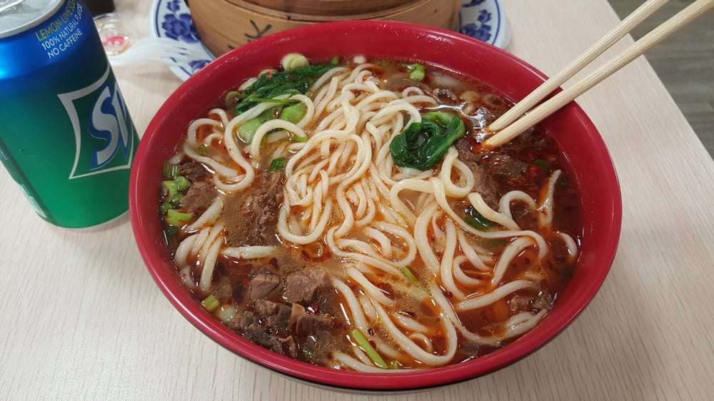 Beef straw noodles at Lan Zhou Ramen.